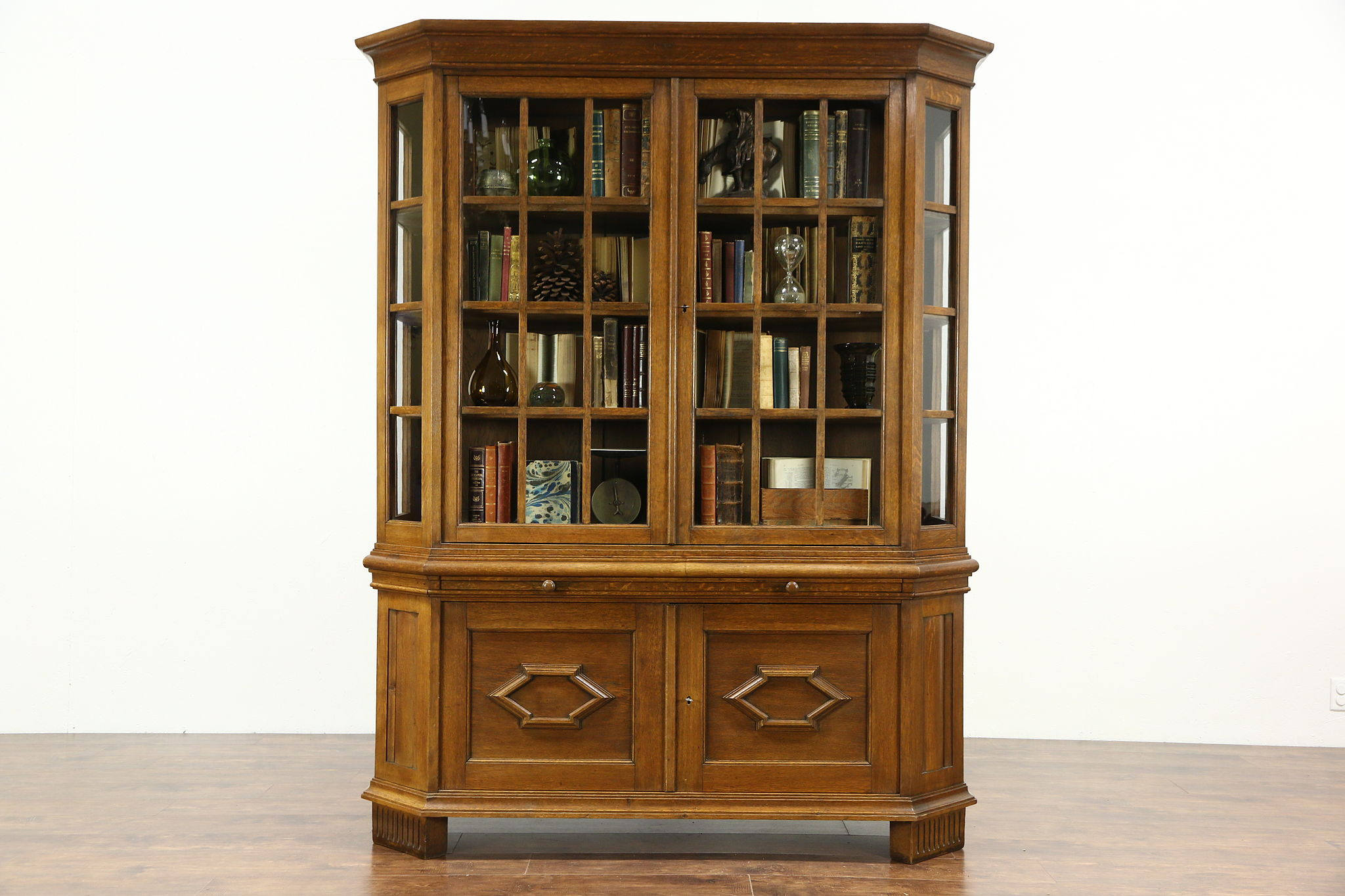 Sold German 1915 Antique Oak Curio Collector Or China Display Cabinet Harp Gallery