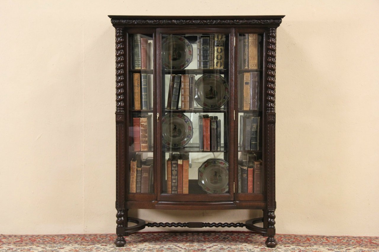 English Tudor 1910 Antique Curved Glass Oak China Cabinet or Curio Display - SOLD - English Tudor 1910 Antique Curved Glass Oak China Cabinet Or