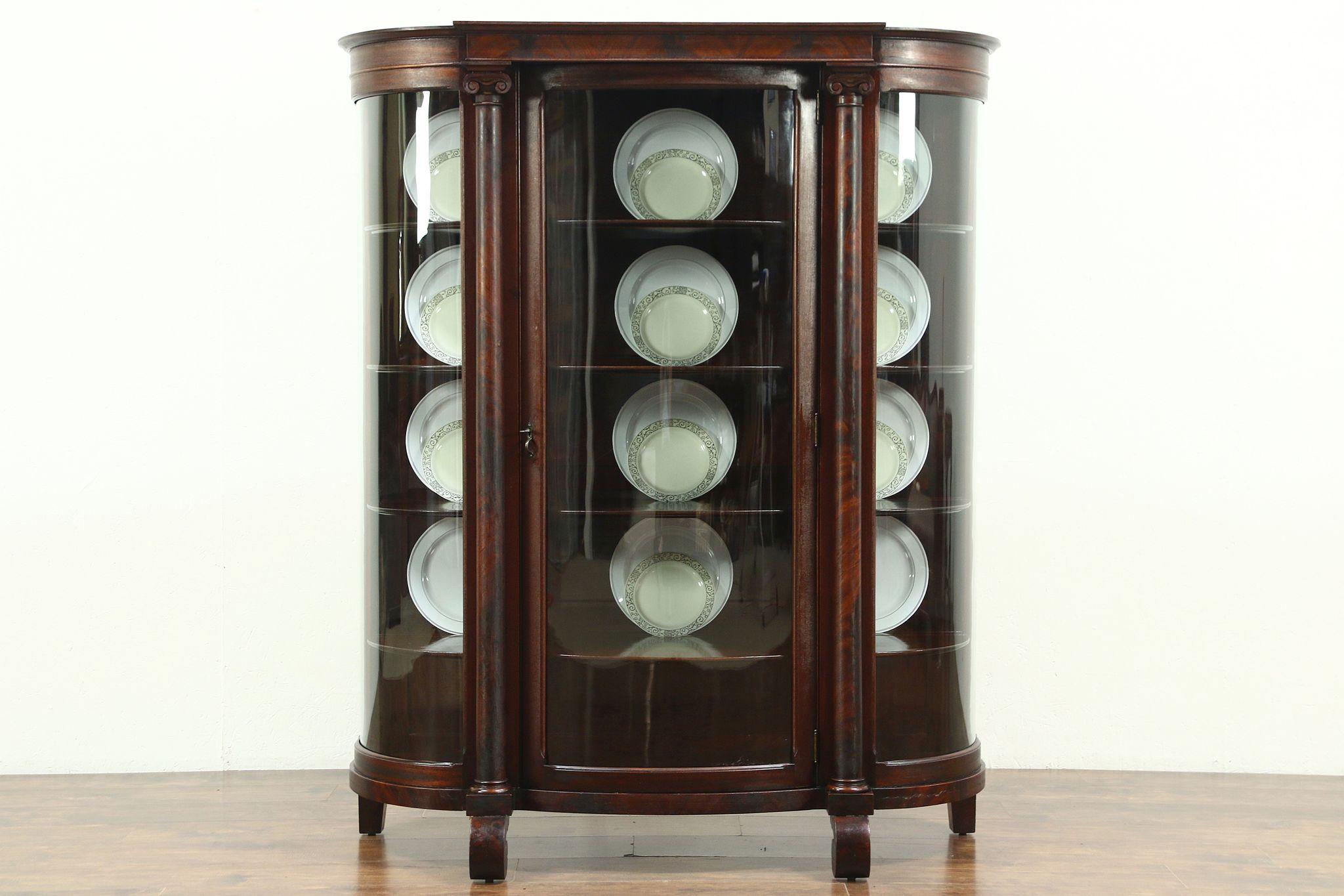 Genial Curved Glass Antique 1900 Empire Mahogany Curio Or China Cabinet #28843