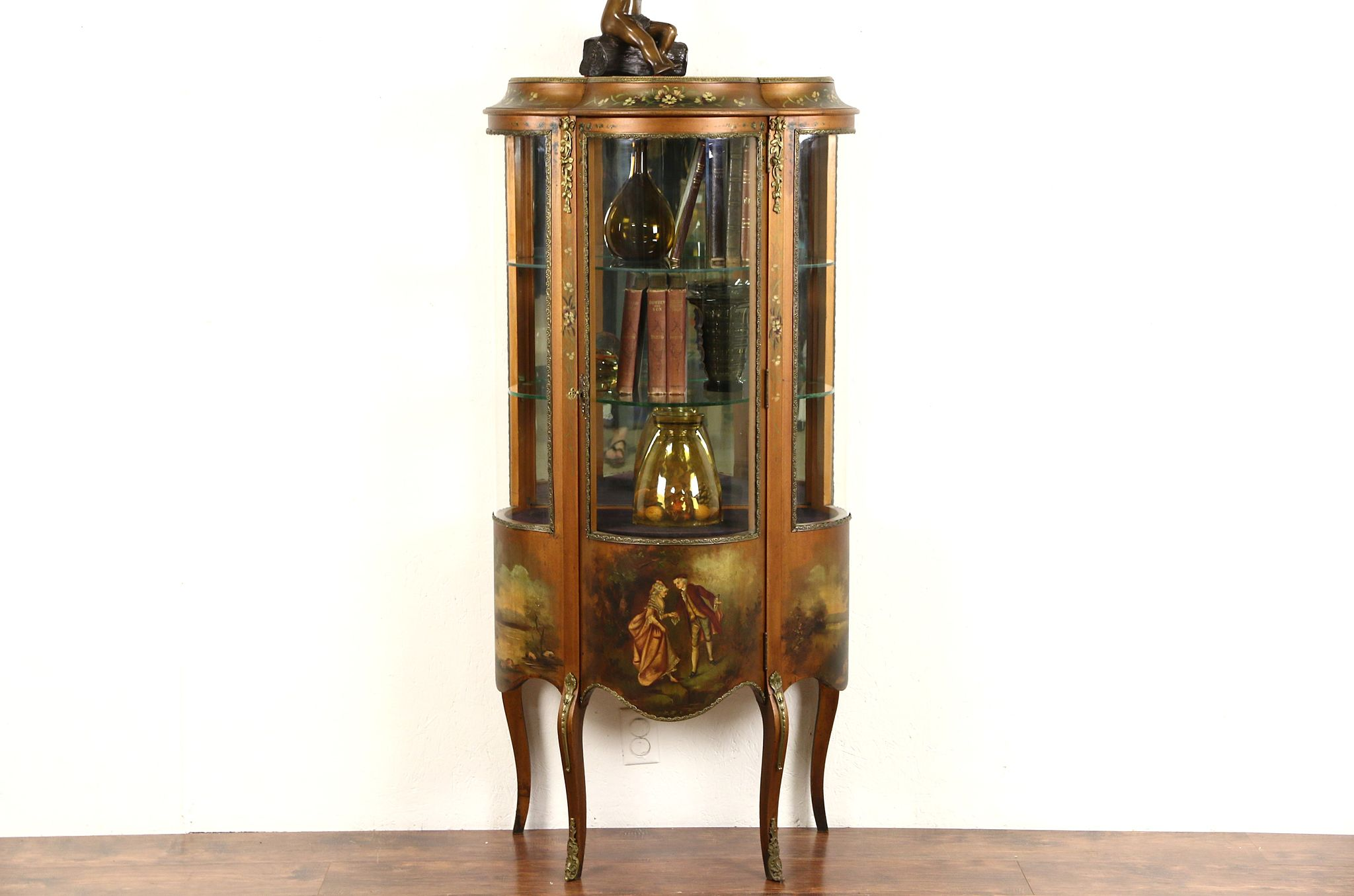 Genial Vernis Martin 1900 Antique French Vitrine Or Curio Display Cabinet, Hand  Painted