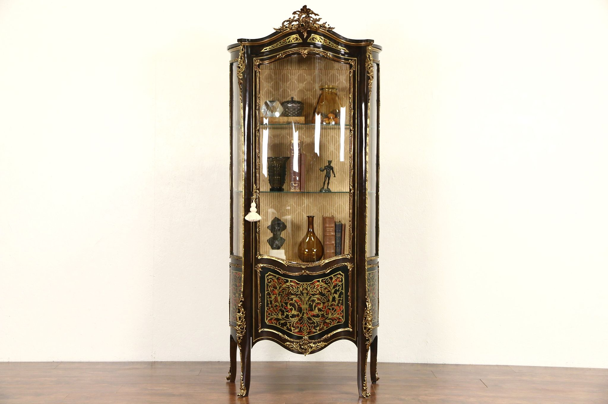 Curved Glass Spanish 1950u0027s Vintage Curio Cabinet Or Vitrine Faux Boulework
