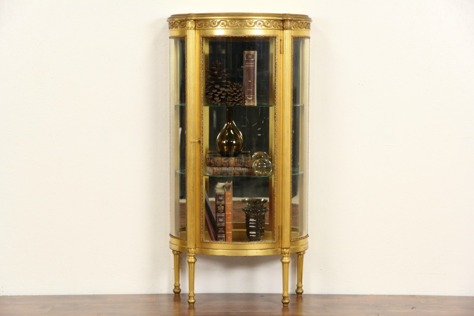Sold French 1910 Antique Gold Leaf Curved Glass Vitrine