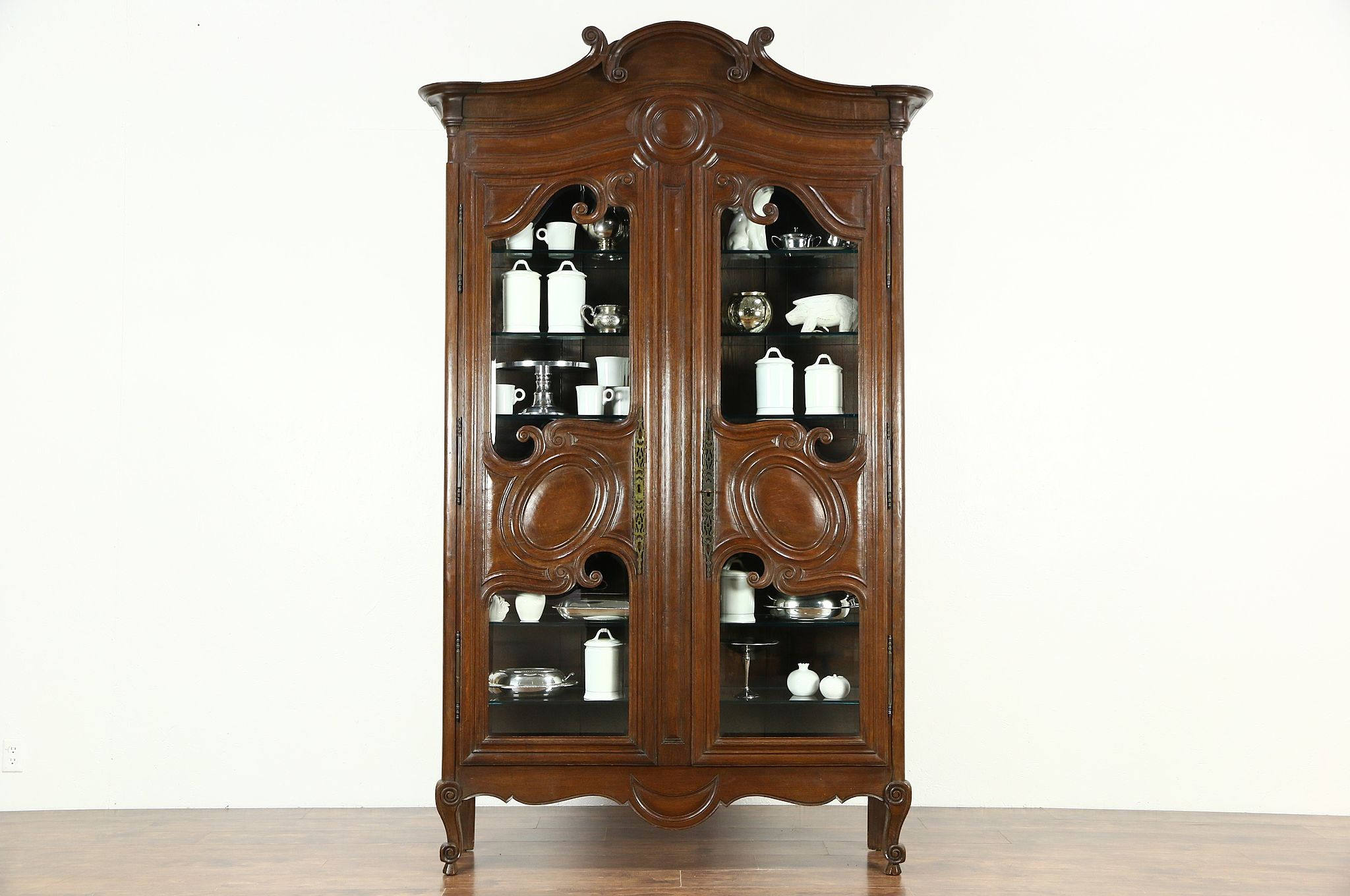 Country French 1800 Antique Oak Curio Or China Display