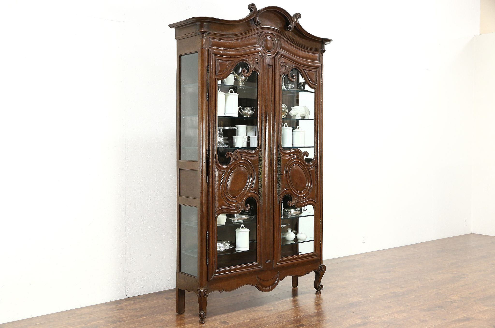 Country French 1800 Antique Oak Curio Or China Display Cabinet Beveled Gl