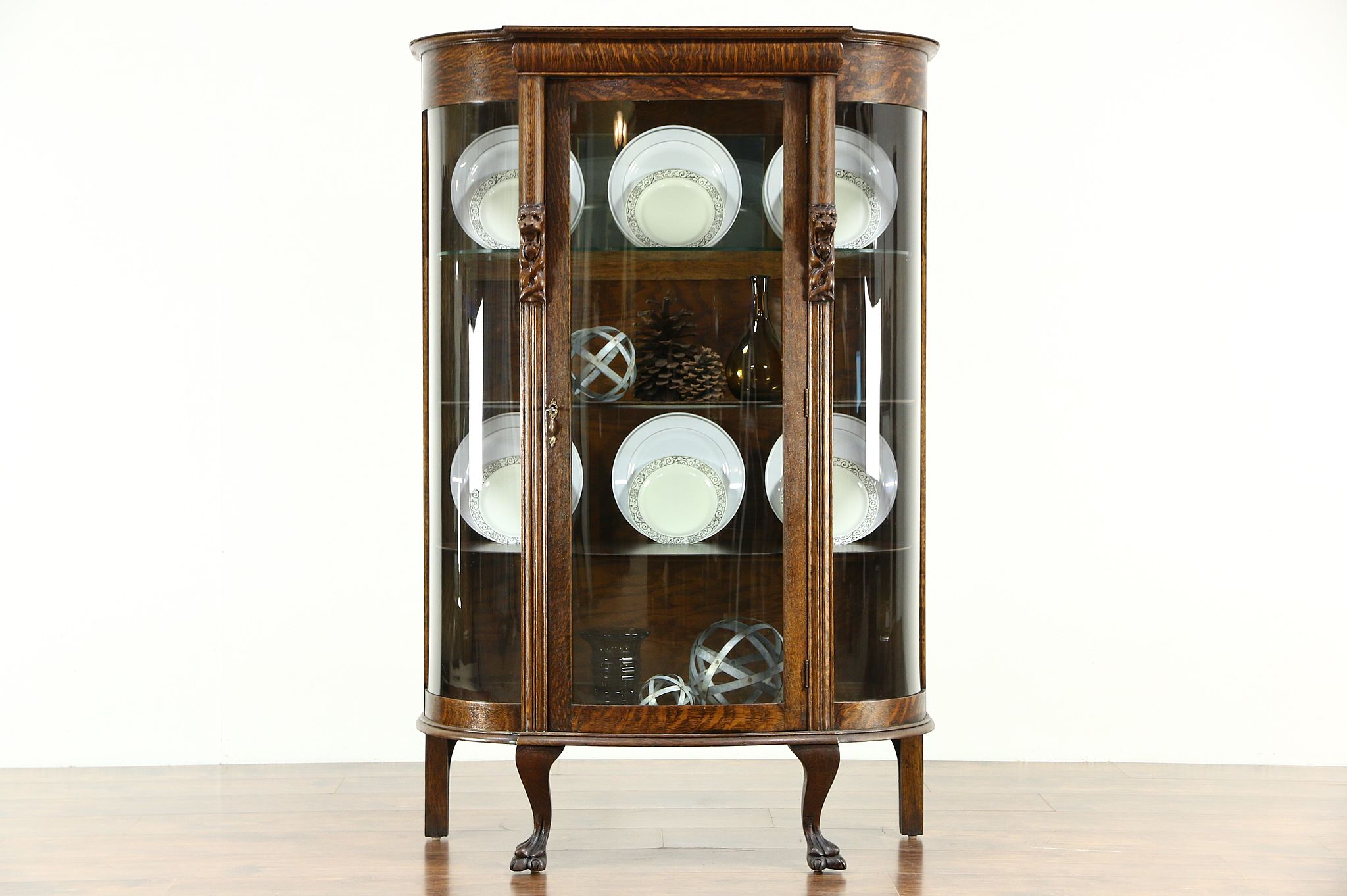 Antique Curio Cabinet With Curved Glass.Oak Antique 1900 Curved Glass Curio China Display Cabinet Lion Heads Paws