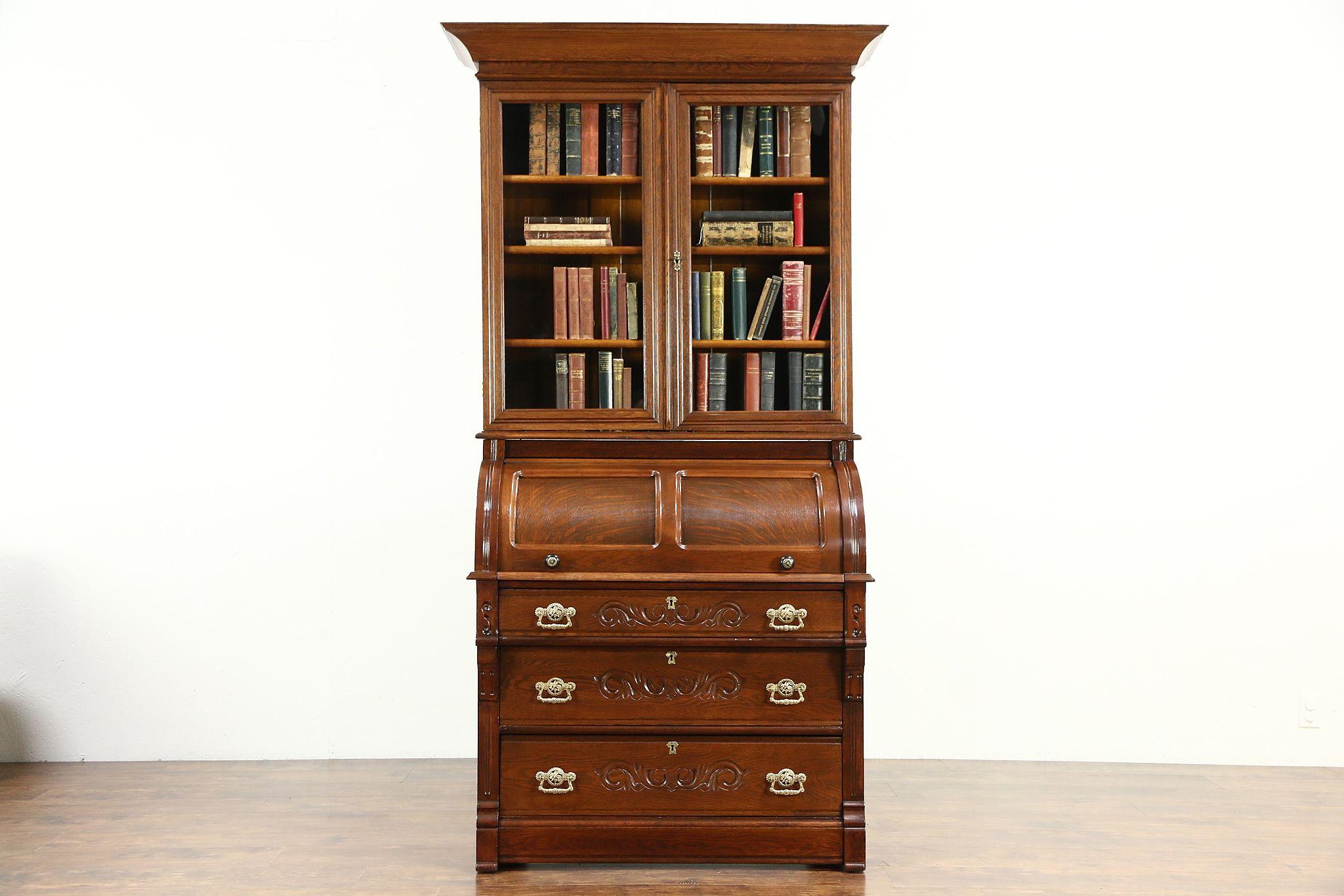 Victorian Oak Antique 1890 Cylinder Roll Top Secretary Desk Bookcase