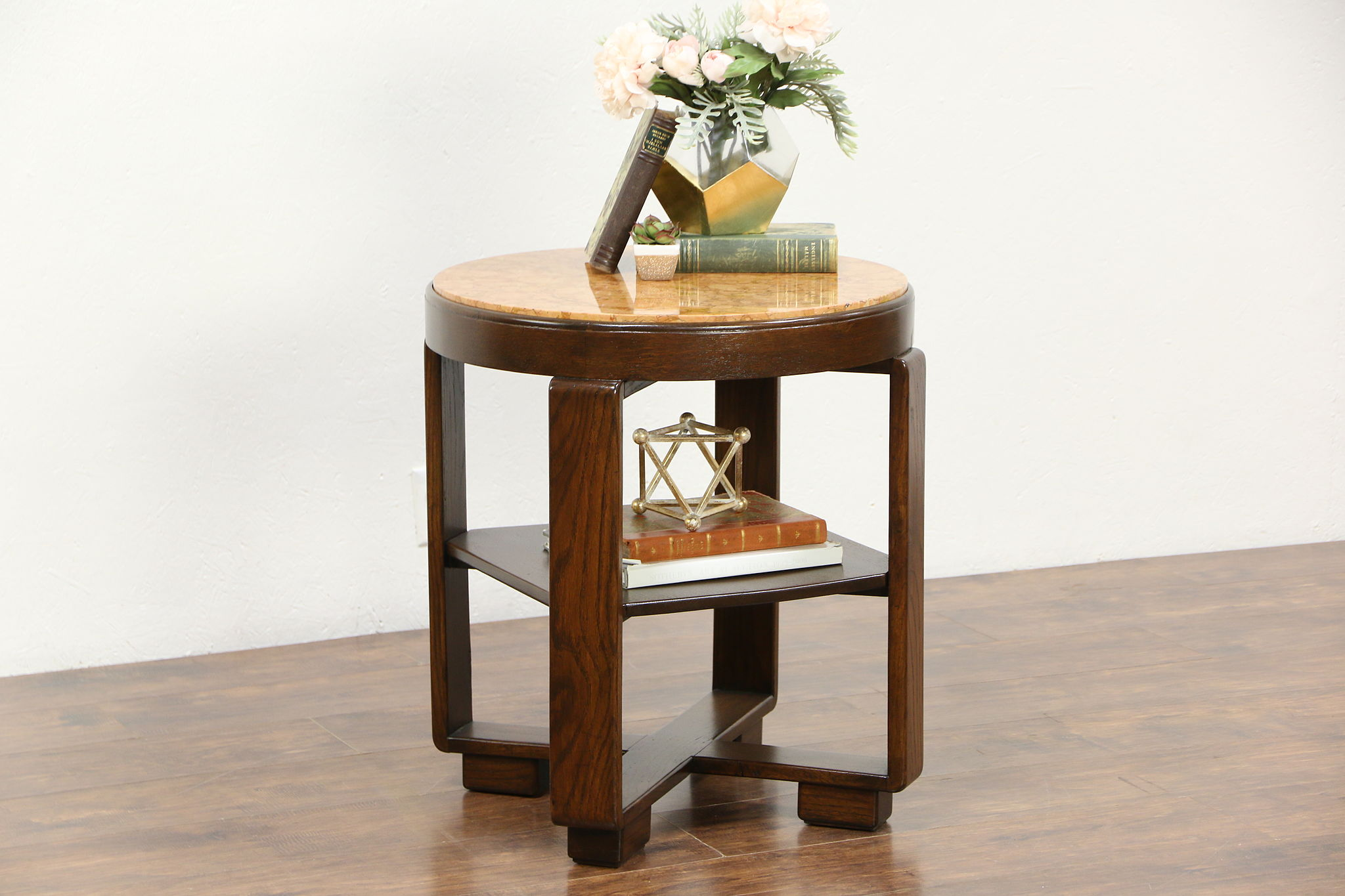 Art Deco Oak 1930u0027s Vintage Lamp Or End Table, Marble Top