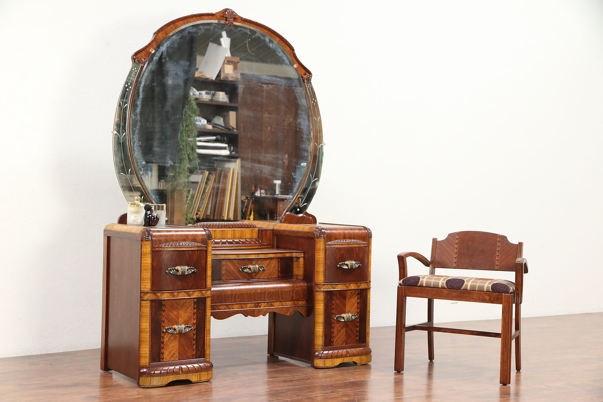 Sold Art Deco Waterfall Vintage Vanity Or Dressing Table Mirror Chair 29705 Harp Gallery Antiques Furniture