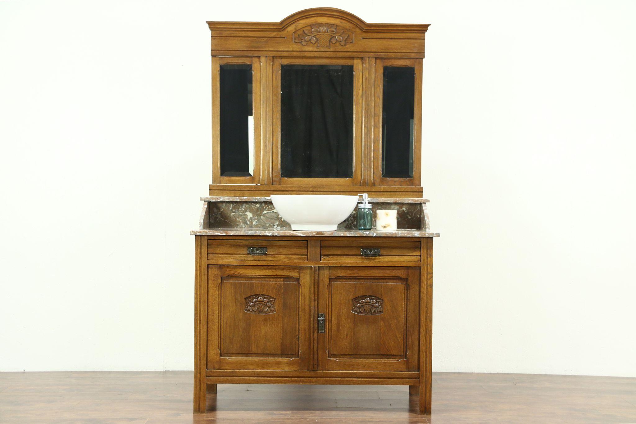Oak U0026 Marble Top Antique Washstand, Bar, Vessel Sink Vanity, Beveled  Mirrors ...