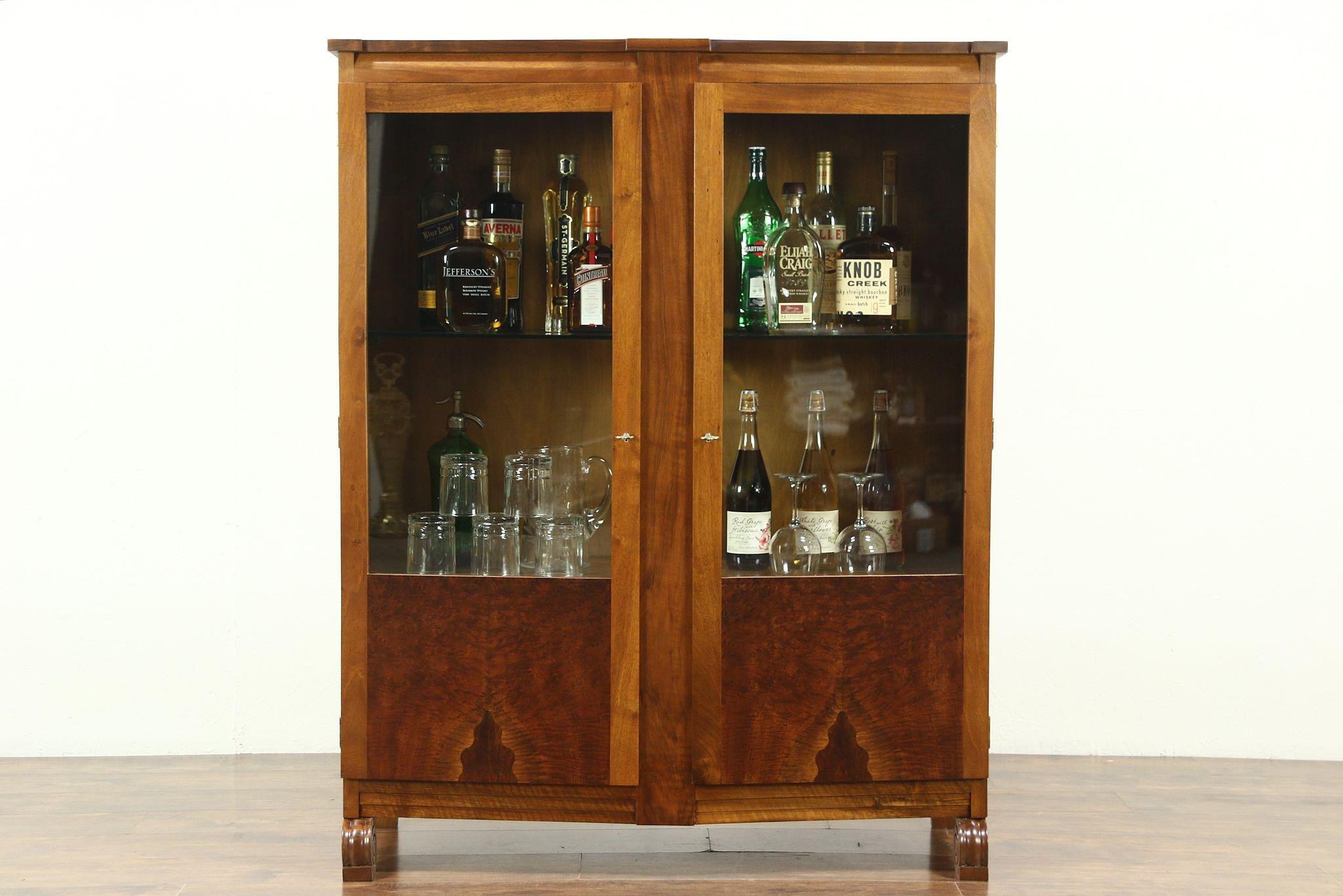 Art Deco 1930u0027s Vintage Walnut Burl Bar Or China Cabinet, Bookcase,  Scandinavia