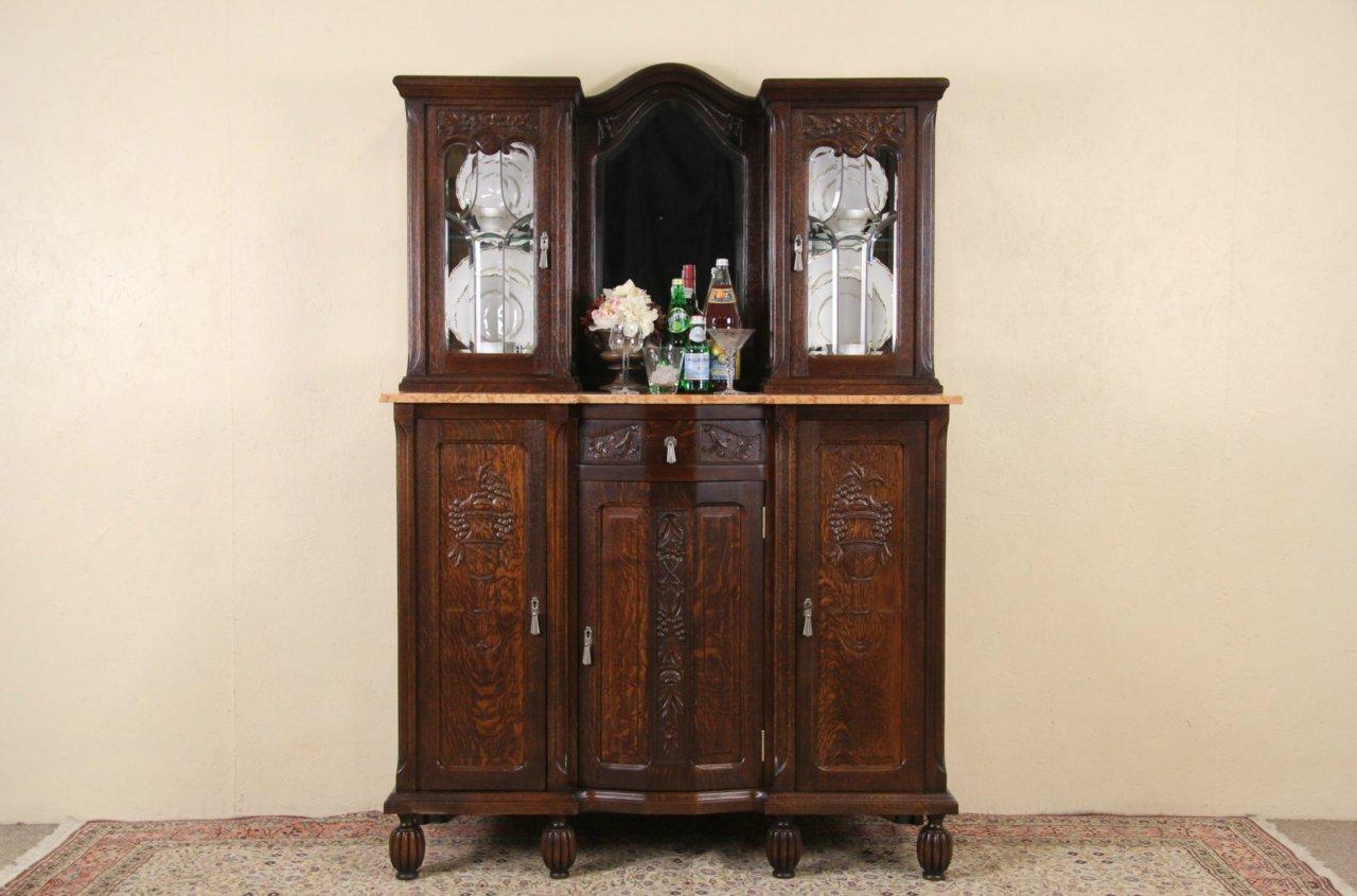 Sold Art Deco 1925 Antique Marble Top Oak Sideboard Leaded Gl
