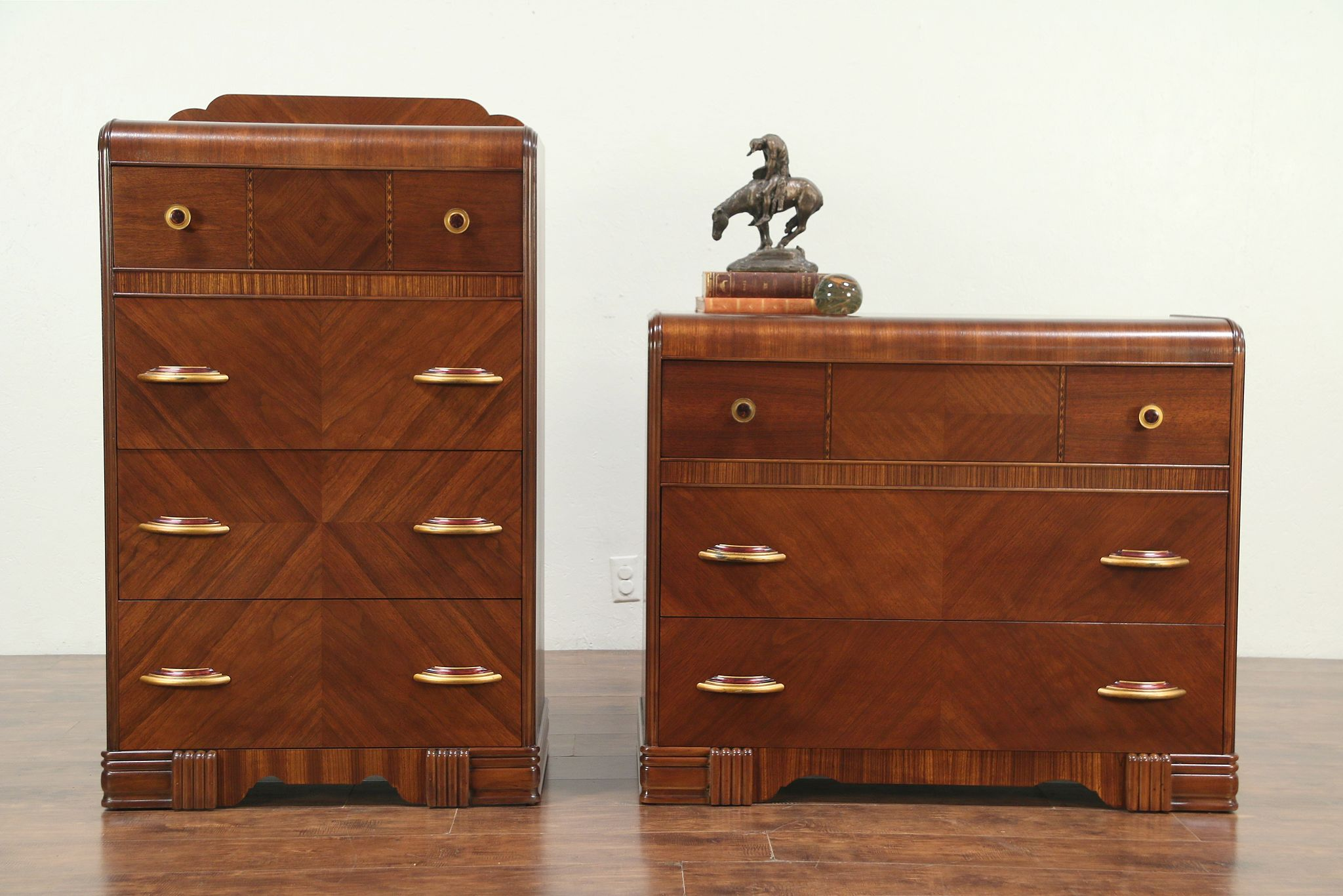 Sold Pair Art Deco 1930 S Waterfall Vintage Chest