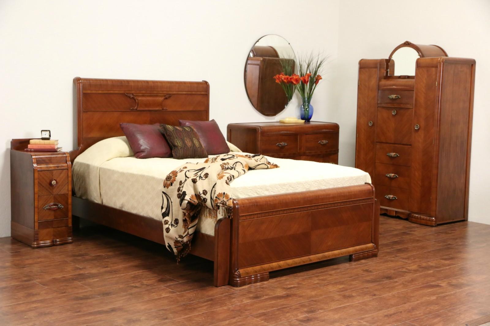SOLD Art Deco Waterfall 1935 Queen Size 4 Pc Bedroom Set Cedar