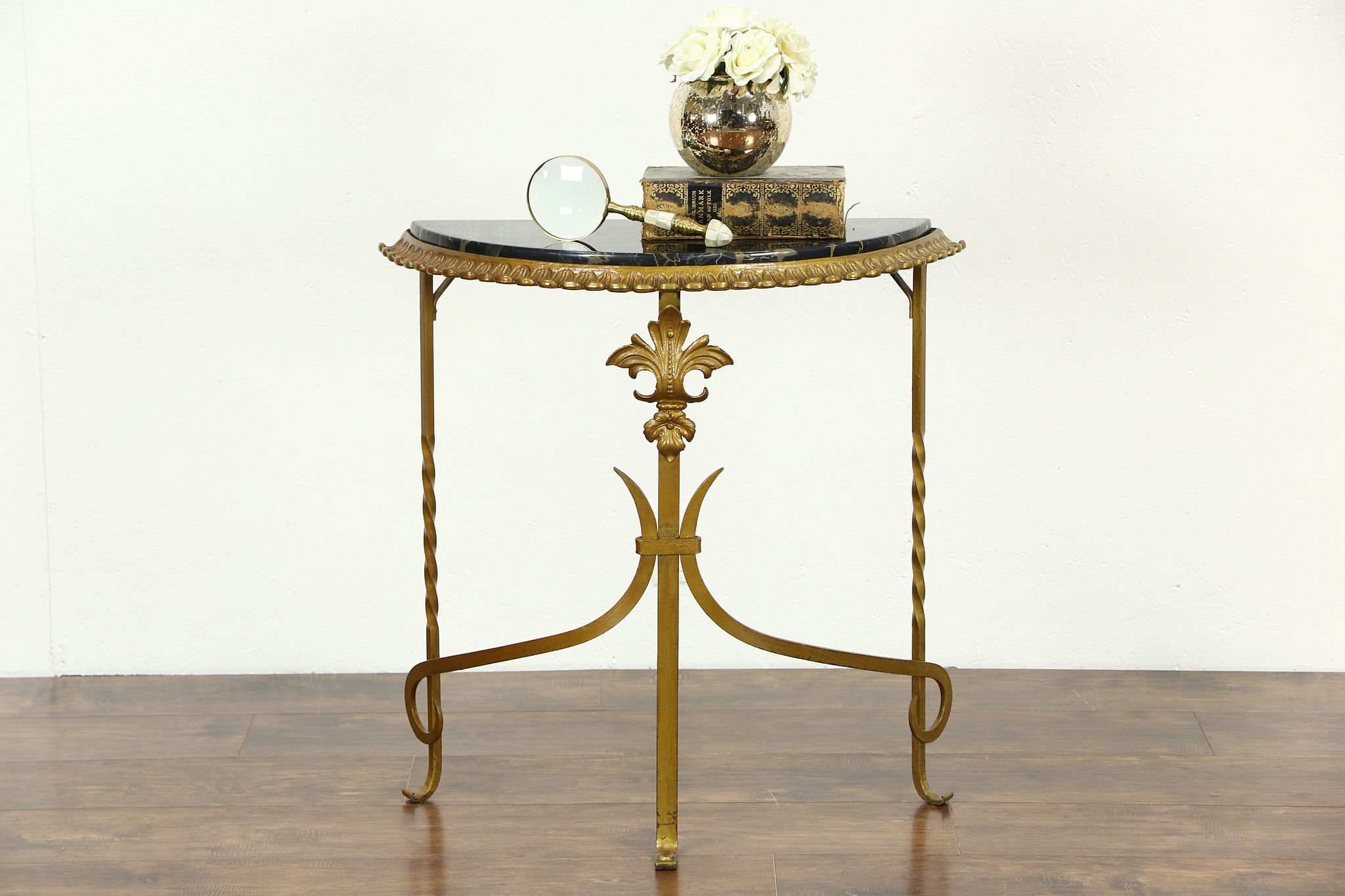 Sold black marble and gilt wrought iron 1920 antique demilune black marble and gilt wrought iron 1920 antique demilune console table geotapseo Gallery