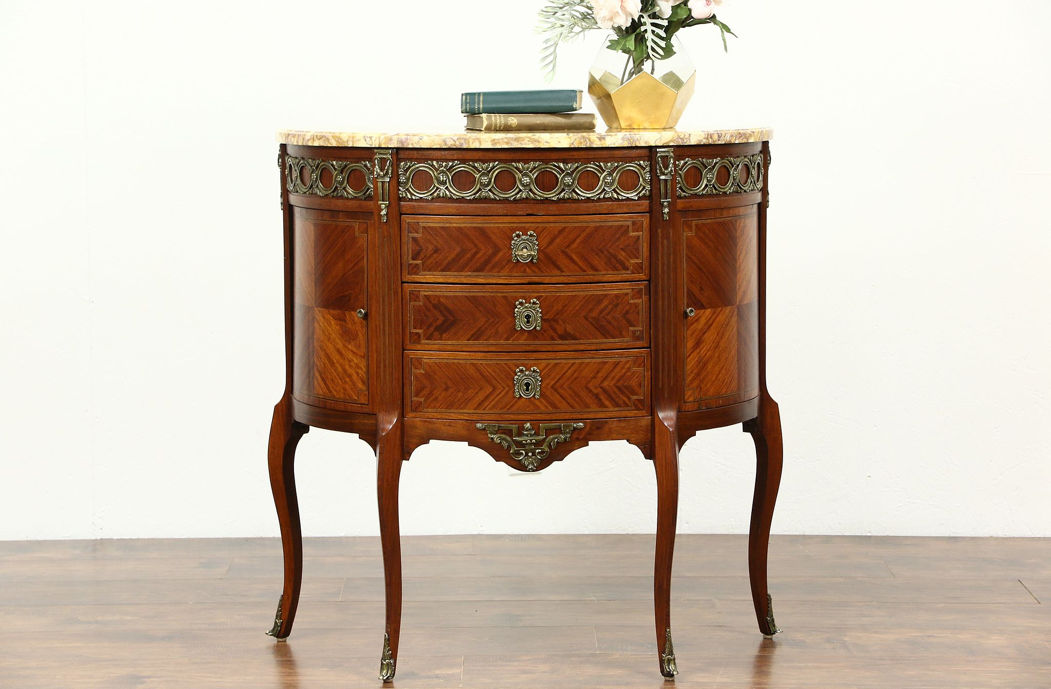 Rosewood Demilune Half Oval Vintage French Hall Console Table, Marble Top  ...