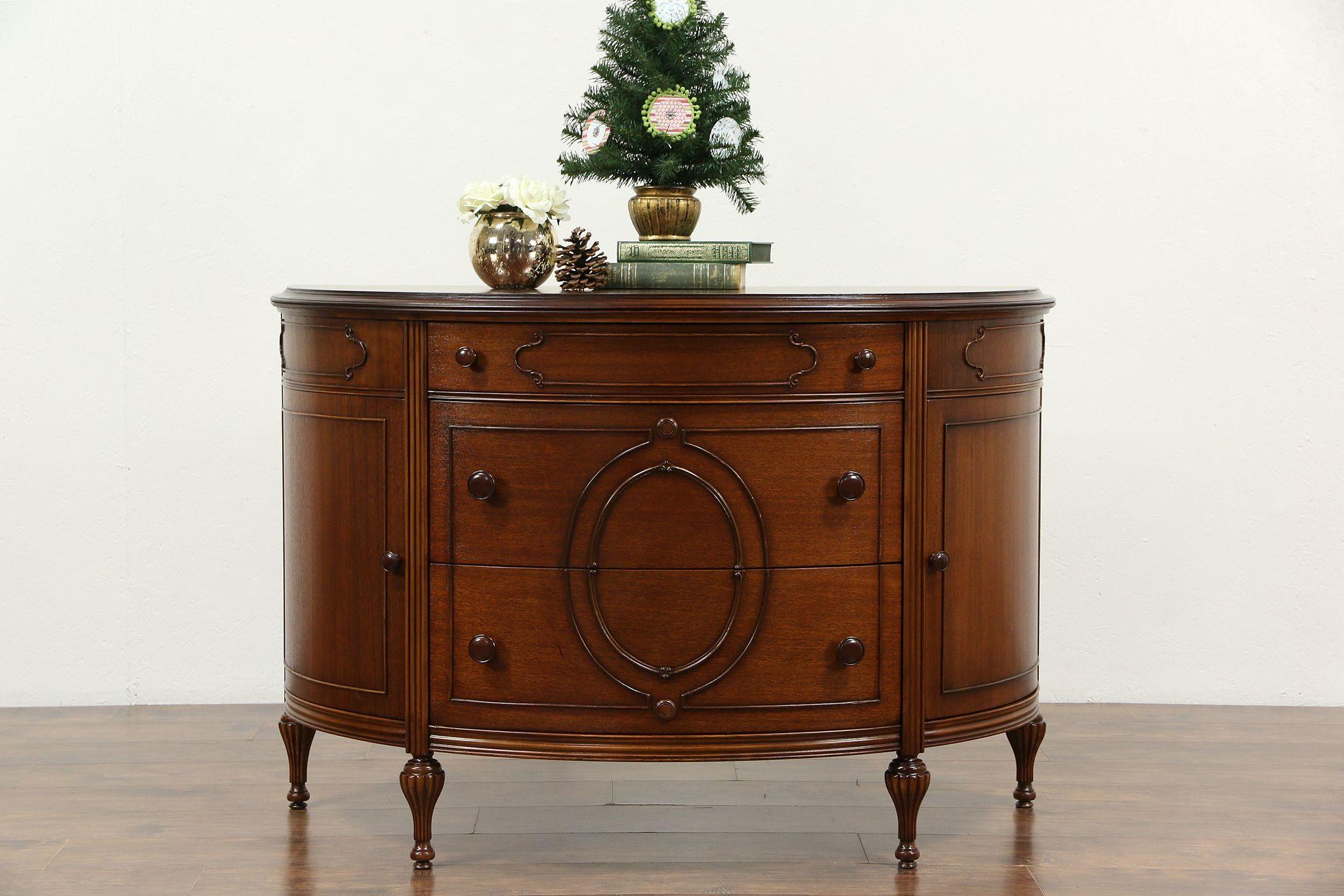 Demilune Half Round Mahogany Hall Console Cabinet, Chest Or Dresser ...