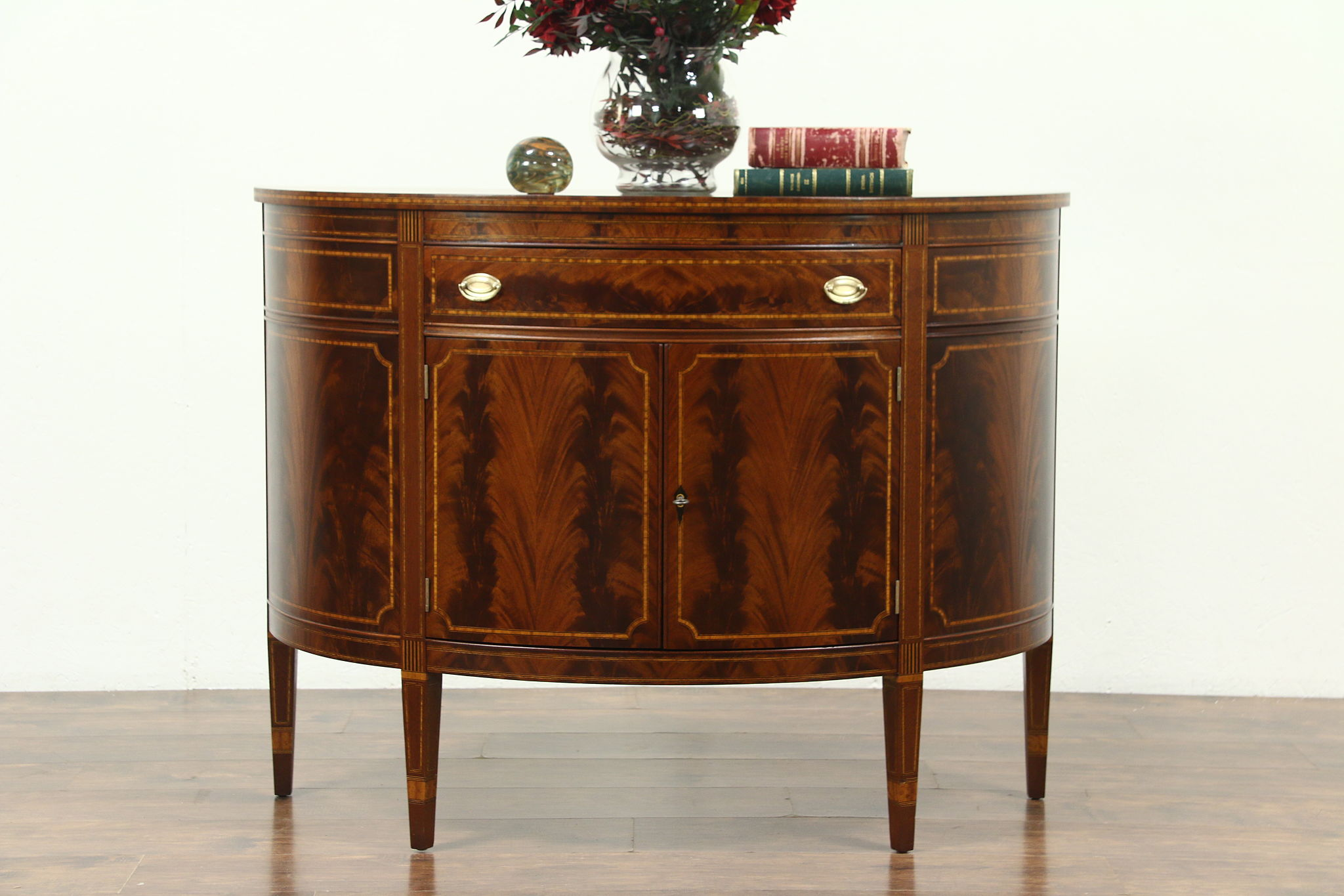 Demilune Half Round Vintage Sideboard Or Console Cabinet Banded Mahogany