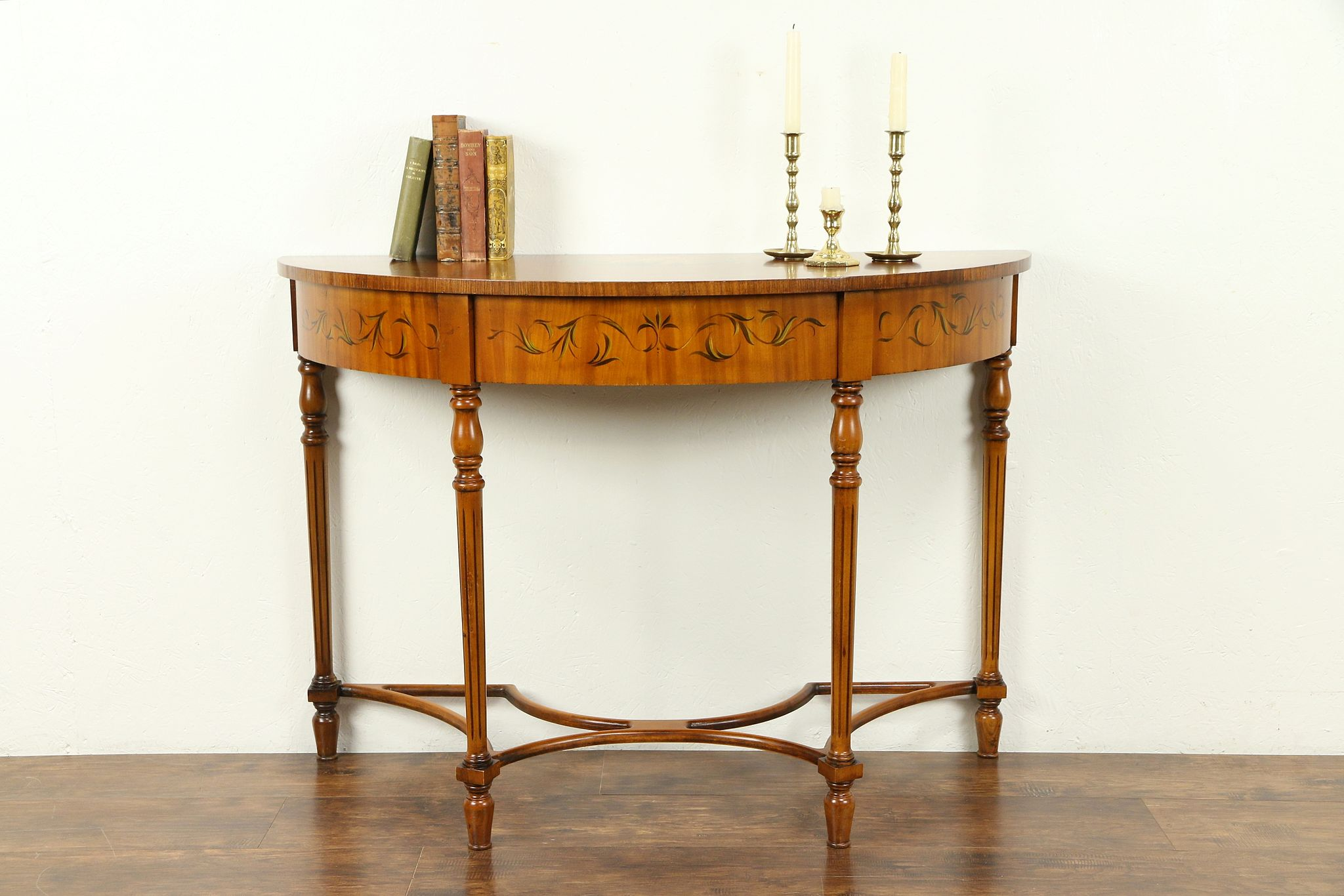 Demilune Half Round Vintage Hall Console Table Hand Painted Angels 30934