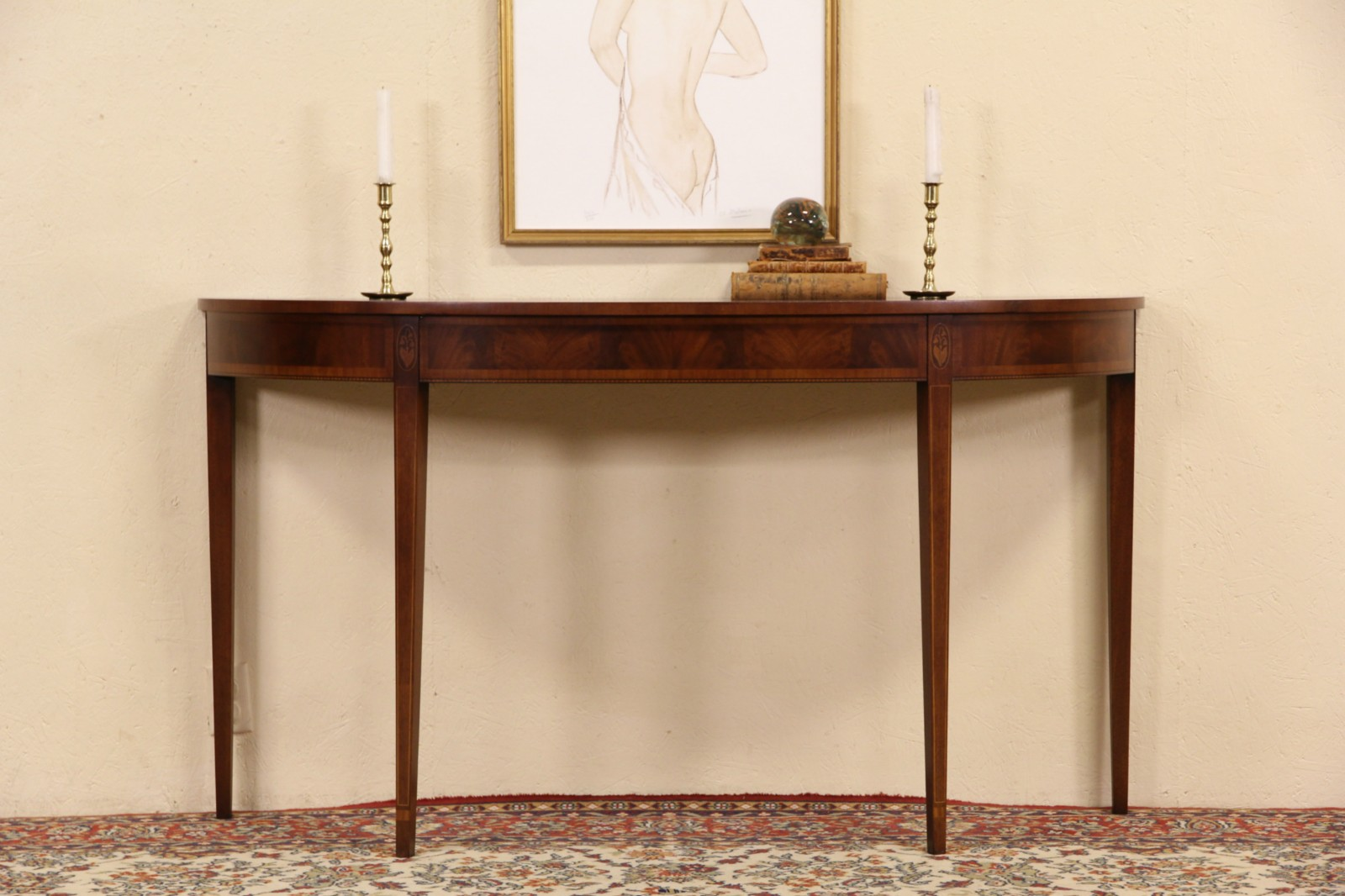 Attrayant Wellington Hall Signed Demilune Hall Console Table, Inlaid Marquetry