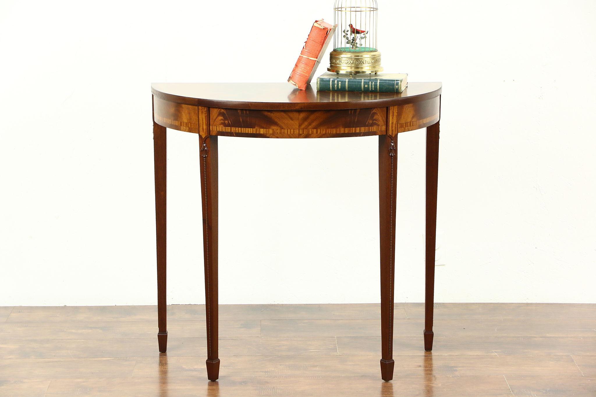 Demilune Half Round Vintage Mahogany Hall Console Table, Inlaid Banding