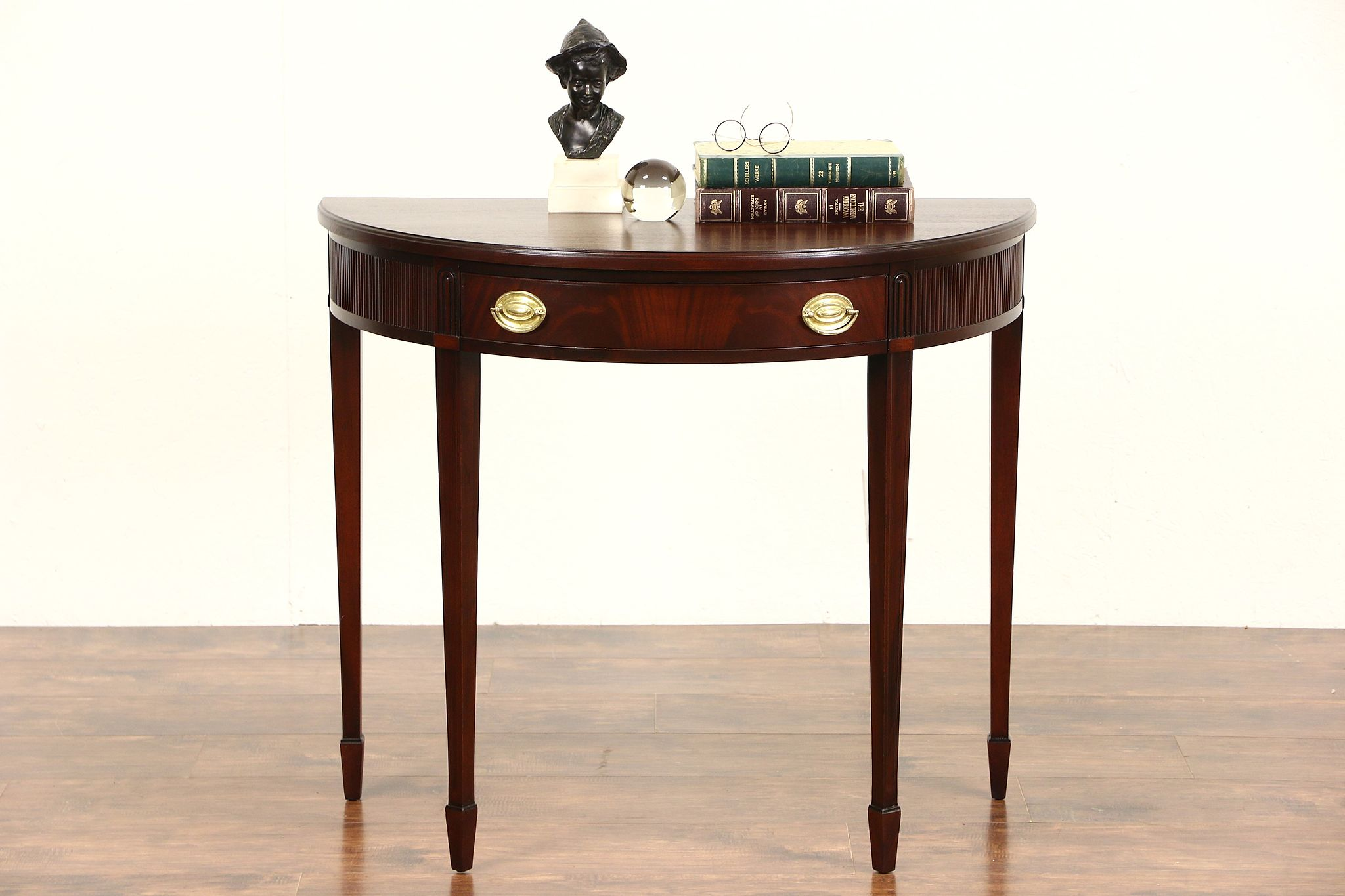 round console table. Demilune Half Round Traditional Vintage Mahogany Console Table, Signed Brandt Table