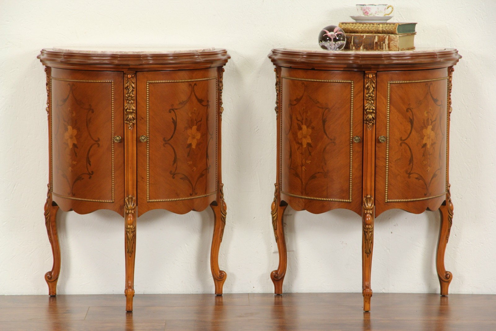 SOLD   Pair Of Demilune Half Round 1940 Vintage Marble Top End Tables Or  Nightstands   Harp Gallery