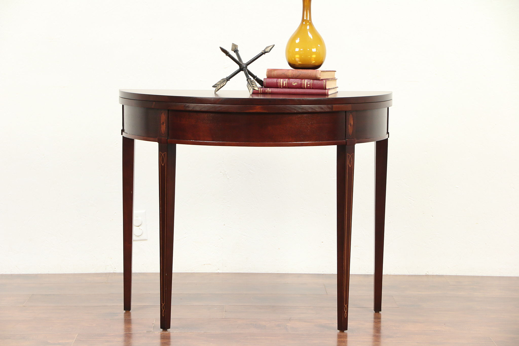 Foyer Console Game : Demilune half round vintage hall console game table