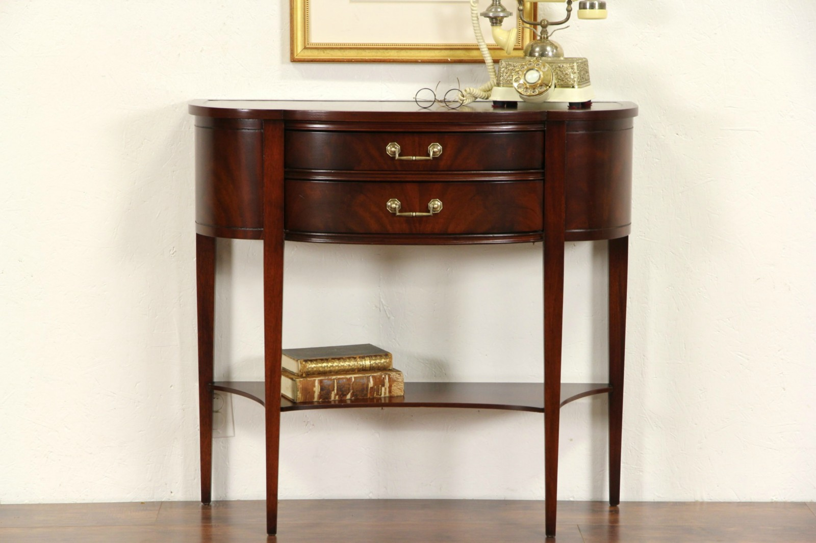 SOLD   Hall Console Table, Vintage Demilune Half Round With Leather Top    Harp Gallery