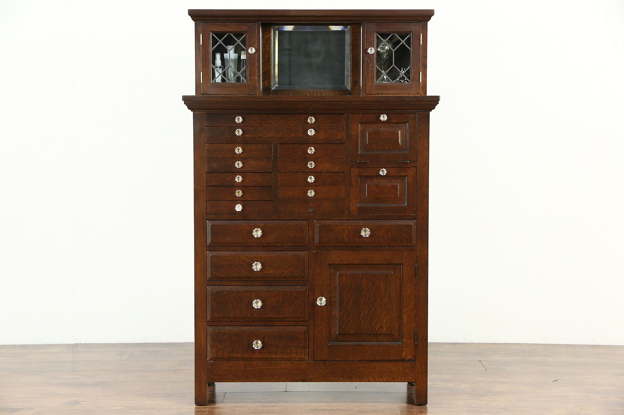Sold Oak Dentist Antique Dental Jewelry Or Collector Cabinet