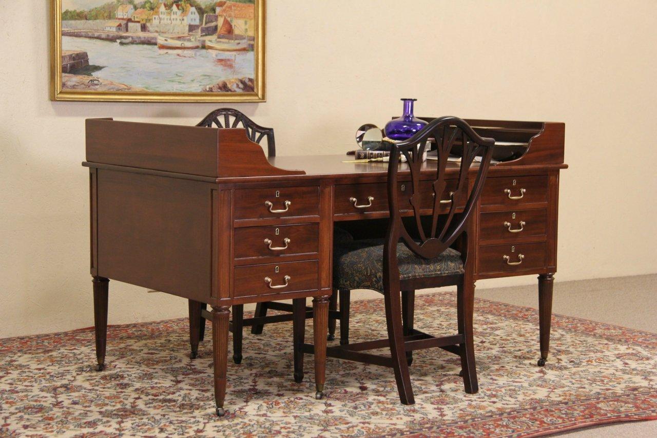 Sold George Washington Vintage Mahogany Partner Desk