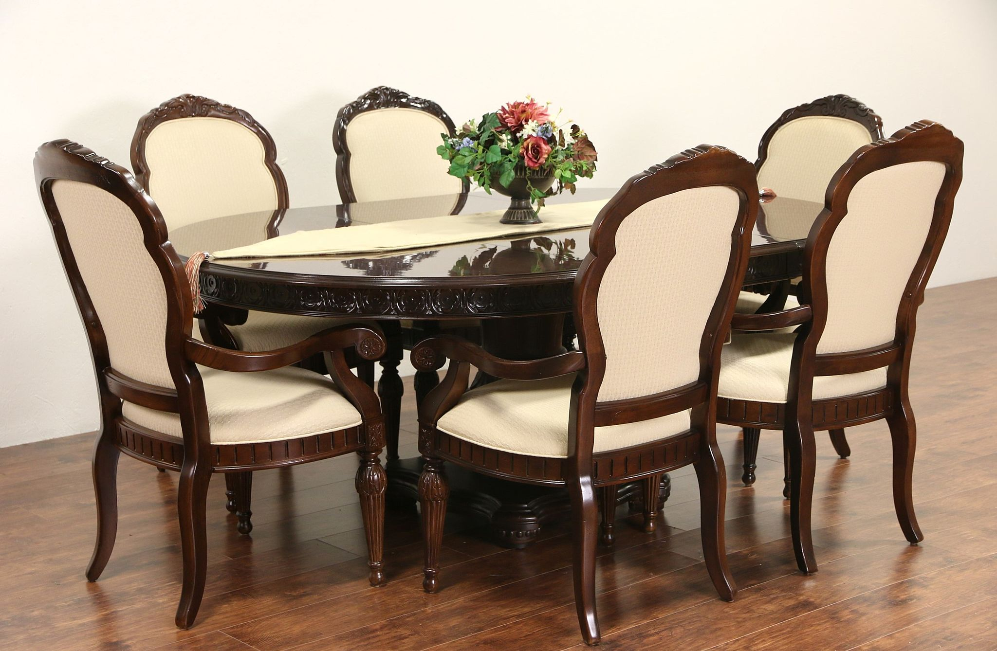 Sold bernhardt signed round cherry dining set table for Round dining table set with leaf