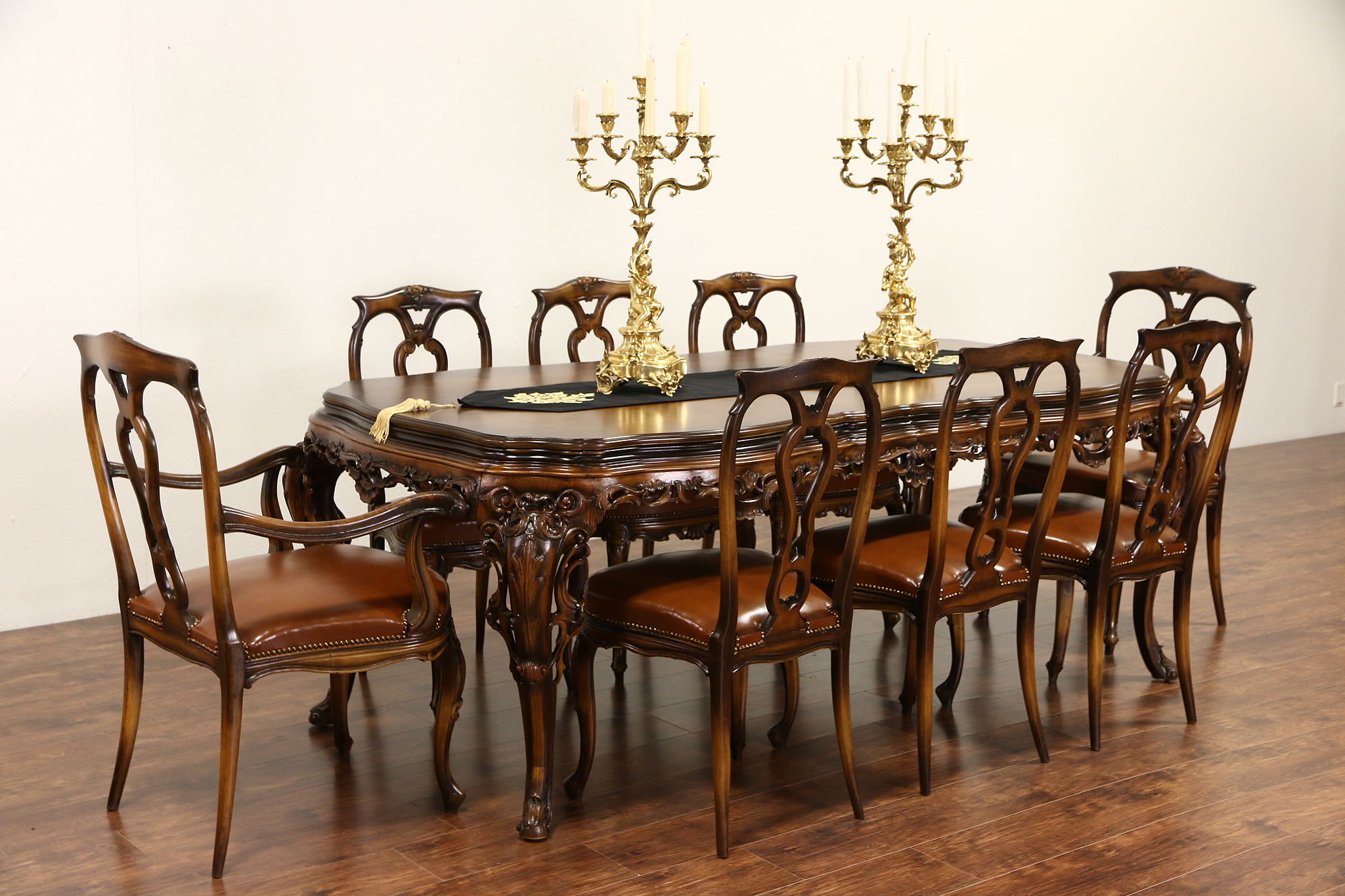 Sold Italian Baroque Carved 1930 S Vintage Dining Set Table 8 Leather Chairs Harp Gallery Antiques Furniture