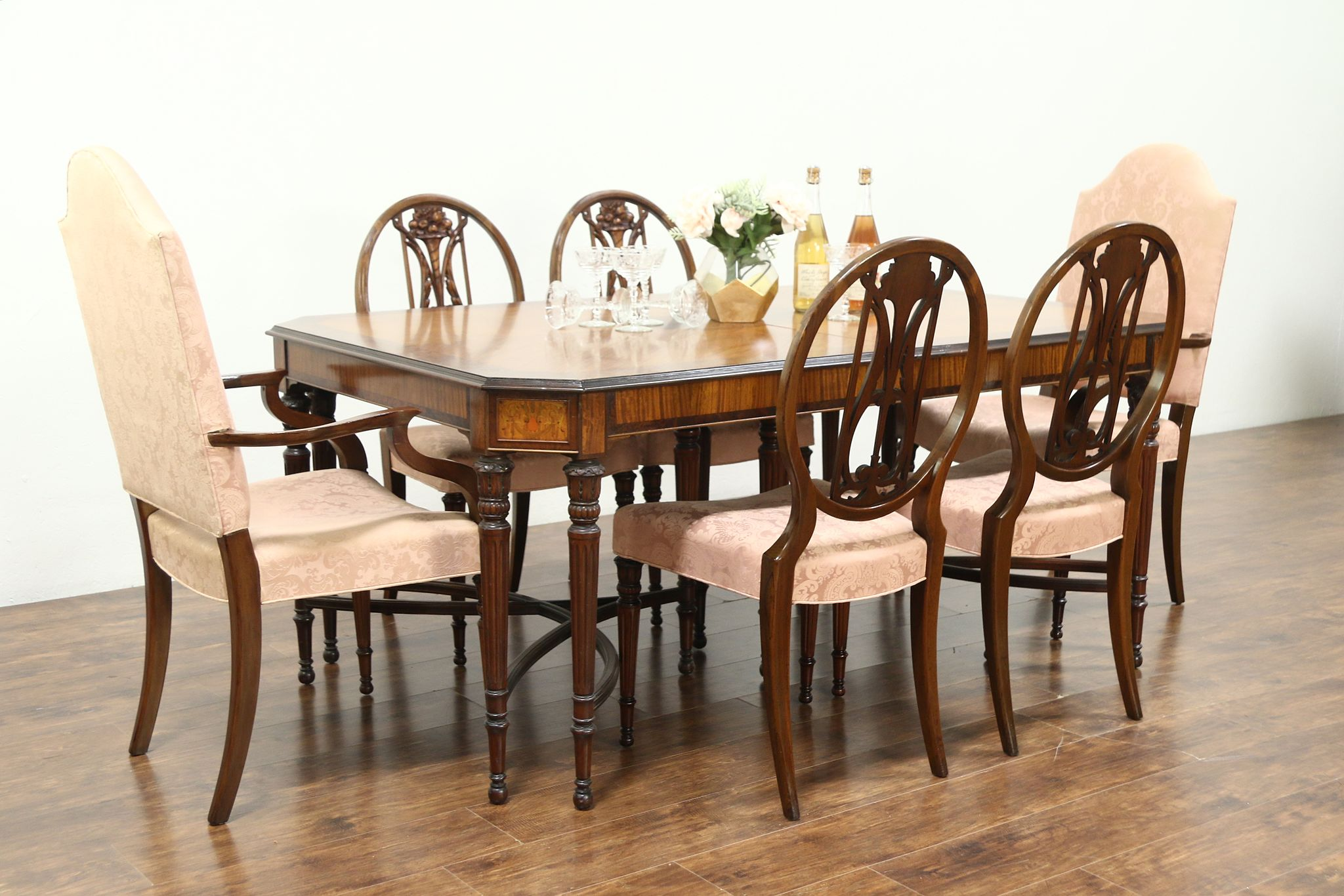 Marquetry Inlaid Satinwood Antique Dining Set, 6 Chairs, Table, ...