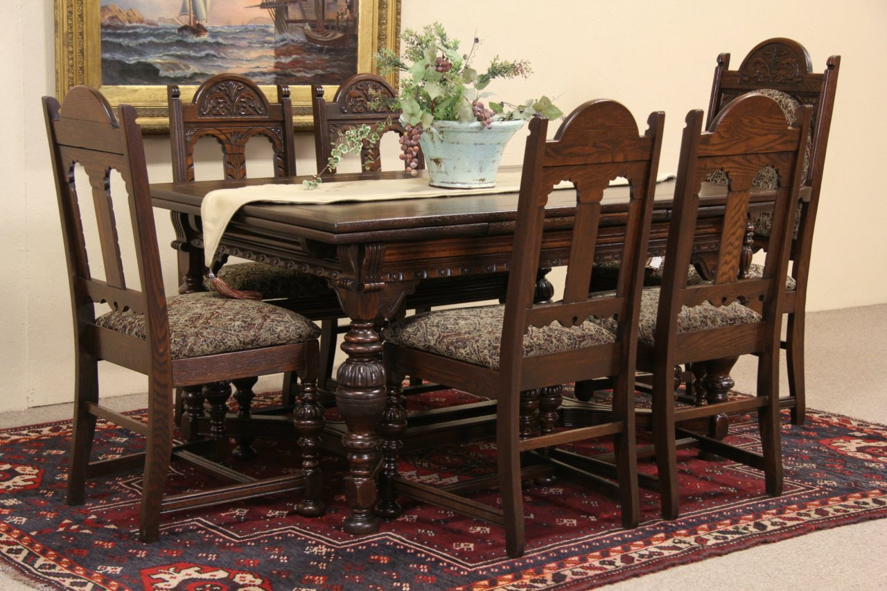 sold oak english tudor 1920 39 s carved oak dining set table 6 chairs harp gallery. Black Bedroom Furniture Sets. Home Design Ideas