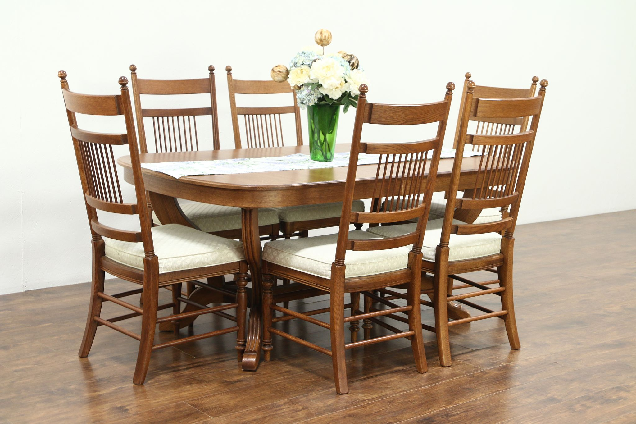 Sold Oak Vintage Dining Set Table 4 Leaves 6 Chairs Signed Richardson Bros Harp Gallery Antiques Furniture