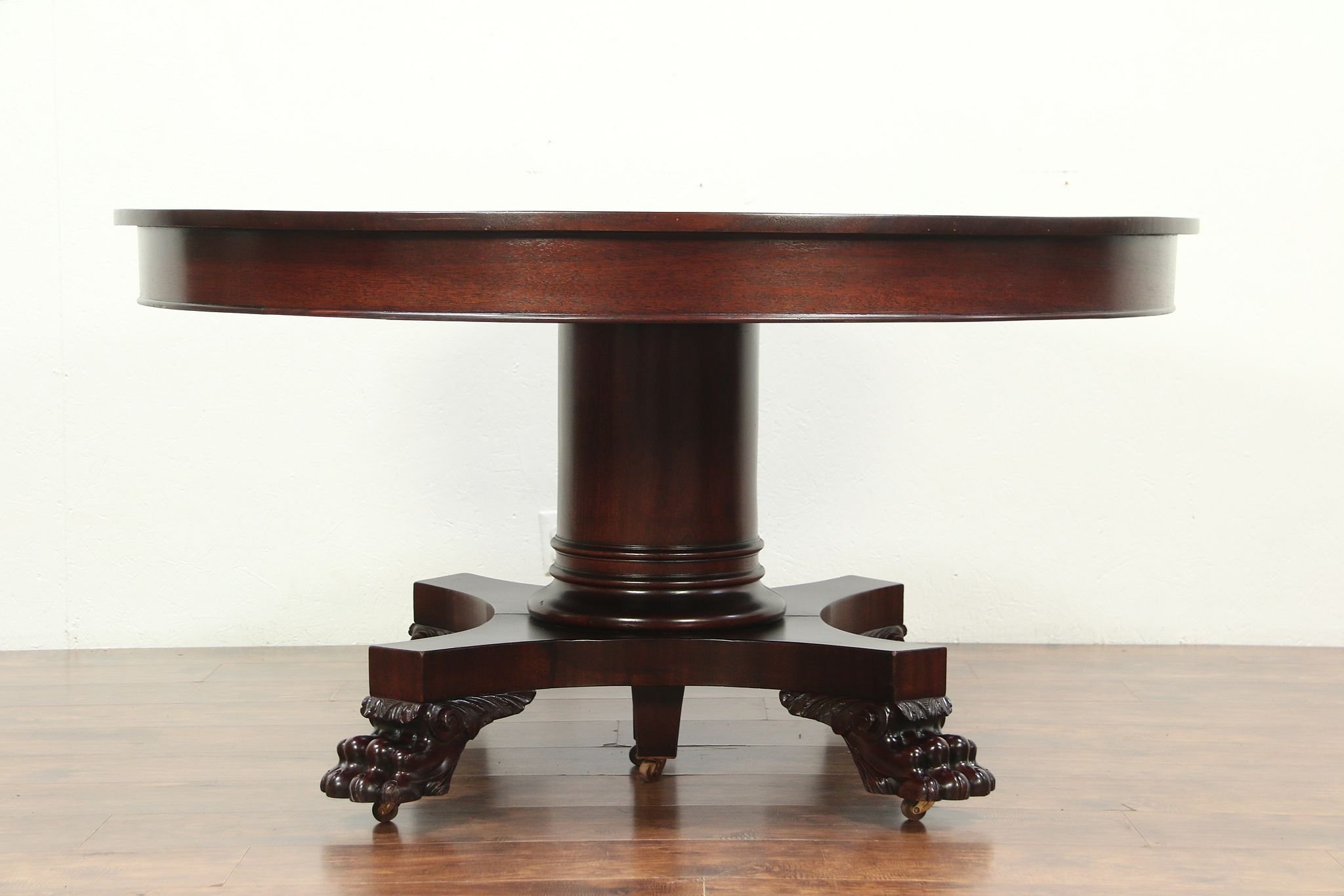Empire Mahogany Antique Round Dining Table Lion Paws Extends 10 6 29104