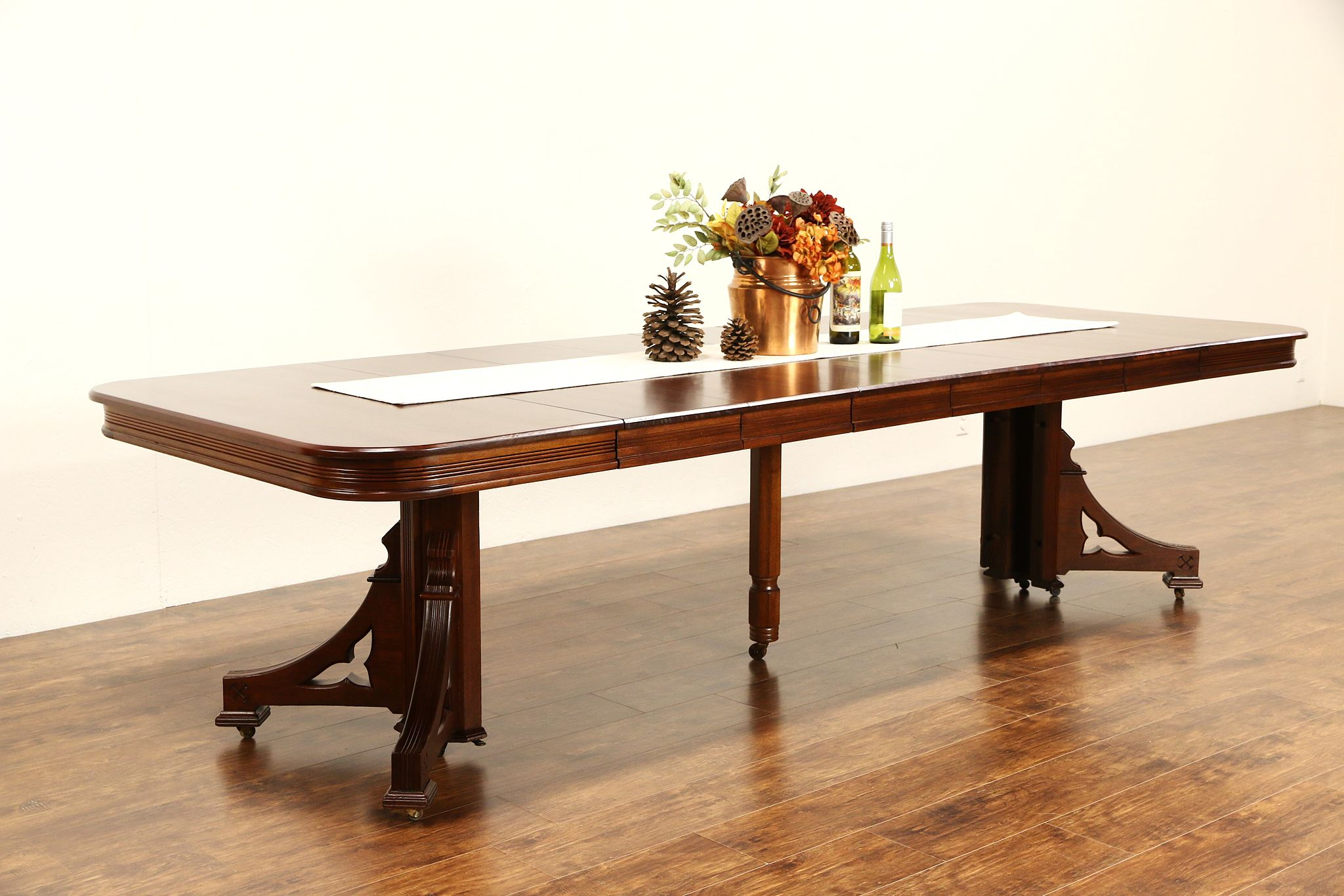 Victorian Eastlake 1885 Antique Mahogany Dining Table 6 Leaves Extends 9 10