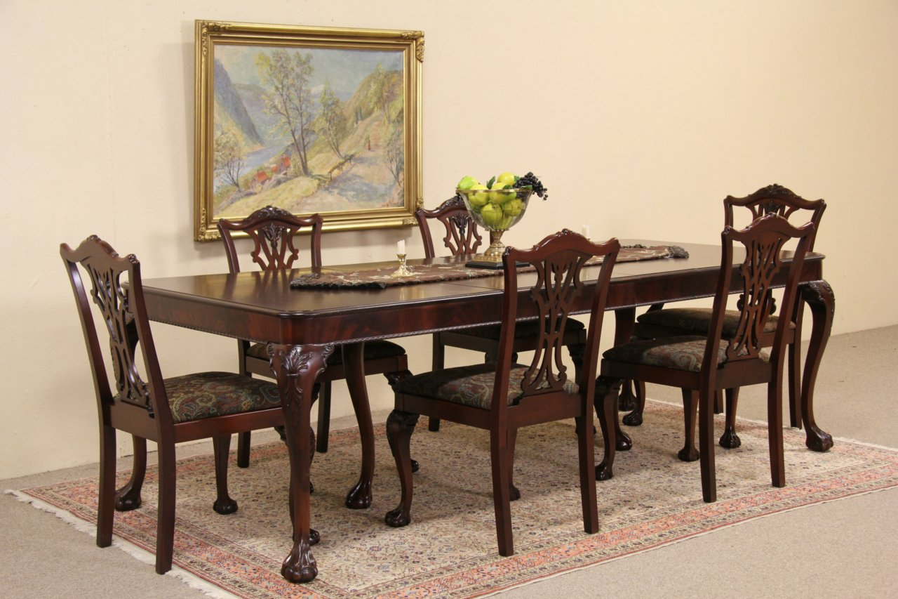 Georgian Style 1940 S Mahogany Dining Set Table 6 Chairs Extend 8 4