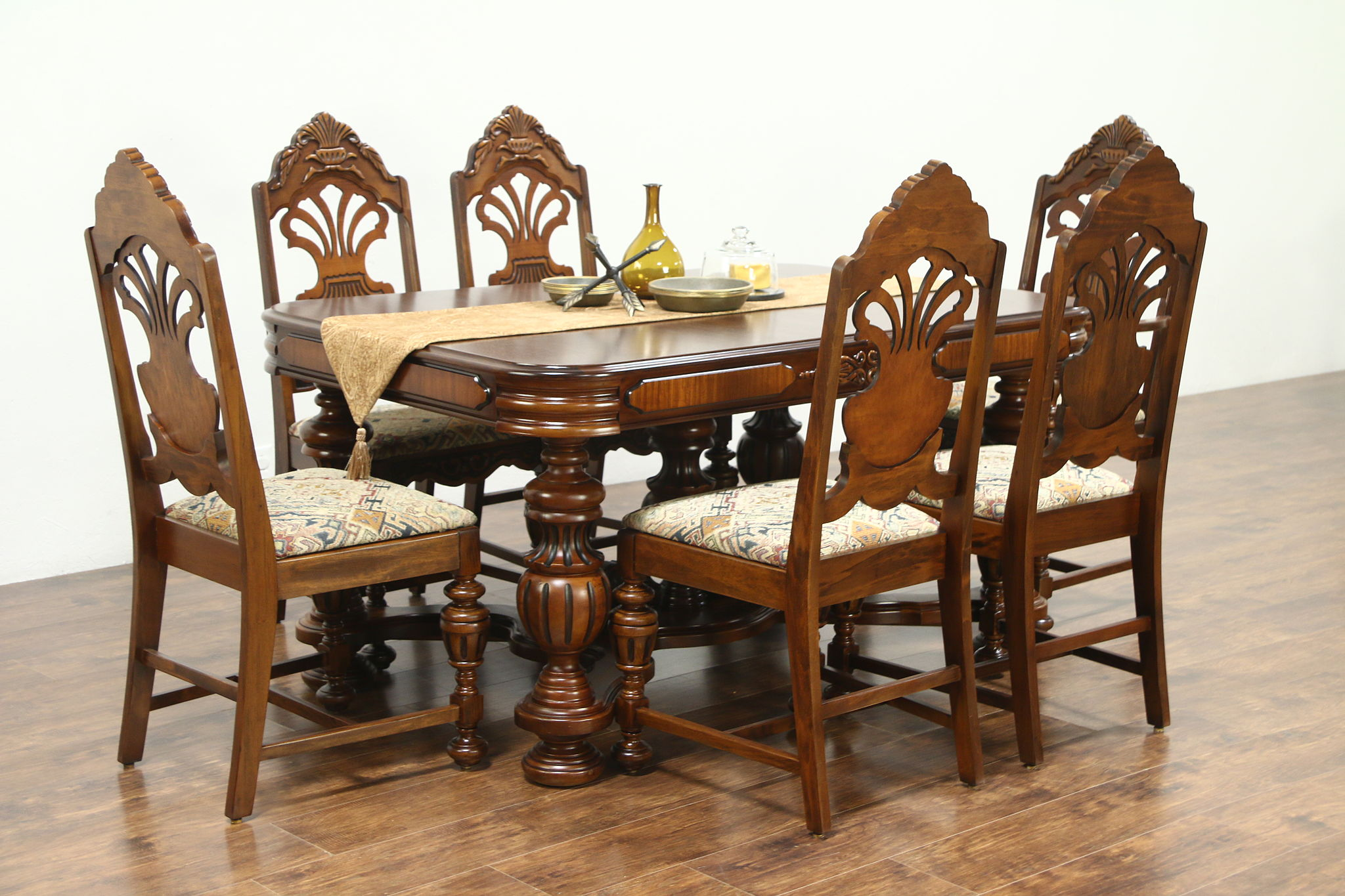 English Tudor Style 1925 Antique Carved Dining Set, Table, Leaf U0026 6 Chairs