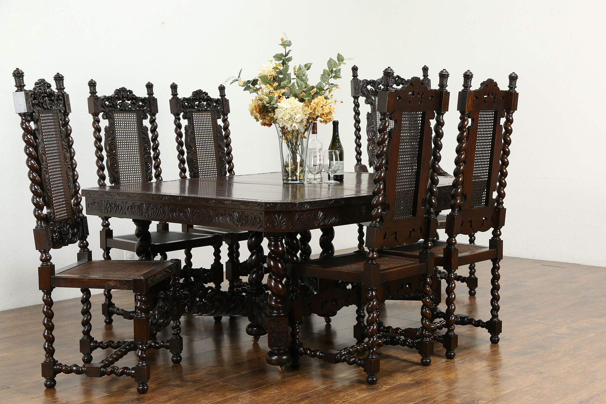 Cucina Letters Kitchen Decor, Sold English Tudor Antique Barley Twist Dining Room Set 6 Chairs Table 34723 Harp Gallery Antiques Furniture