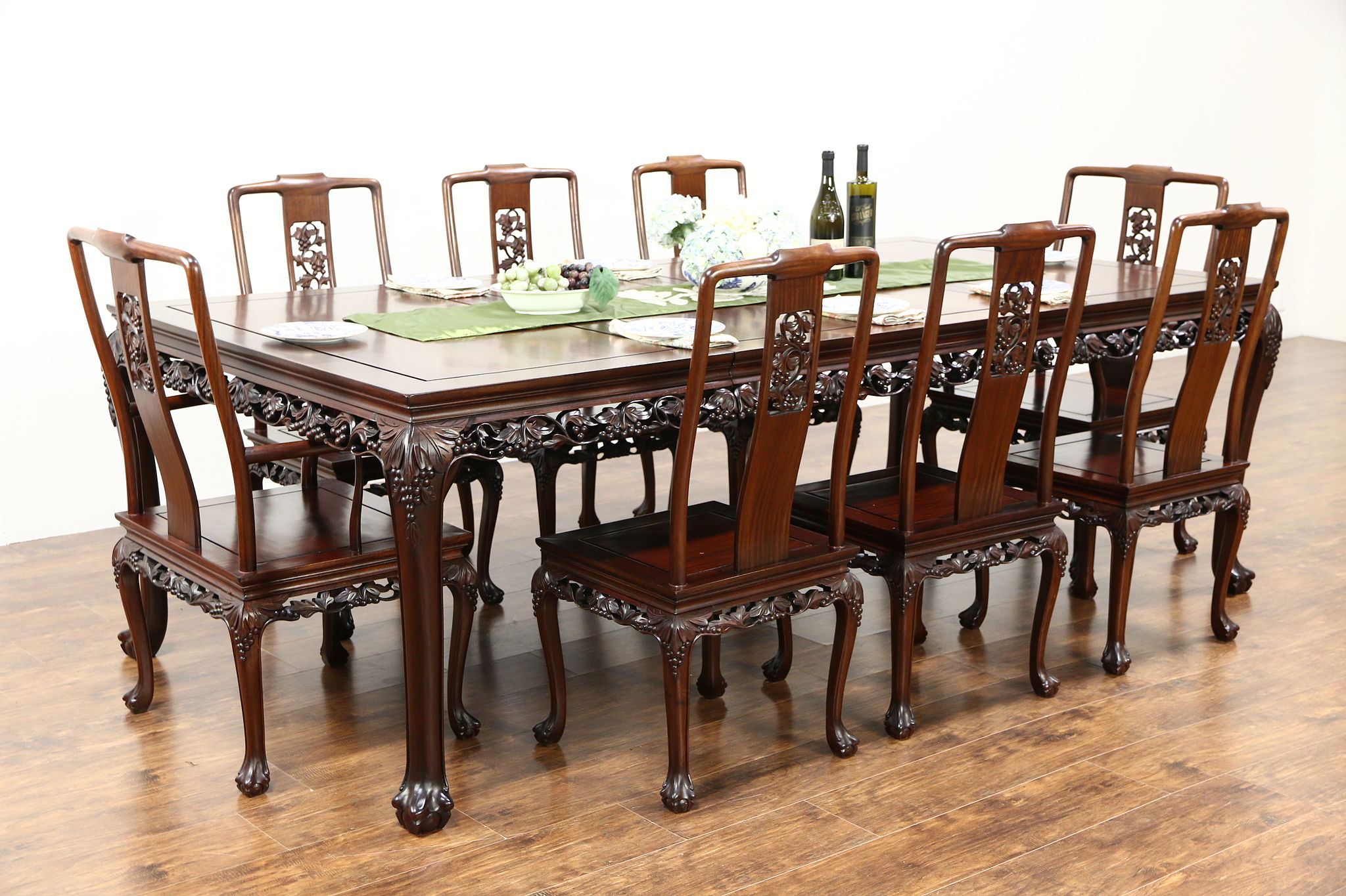 Chinese Rosewood Vintage Dining Set, Table, 8 Chairs, Hand Carved Grapevine