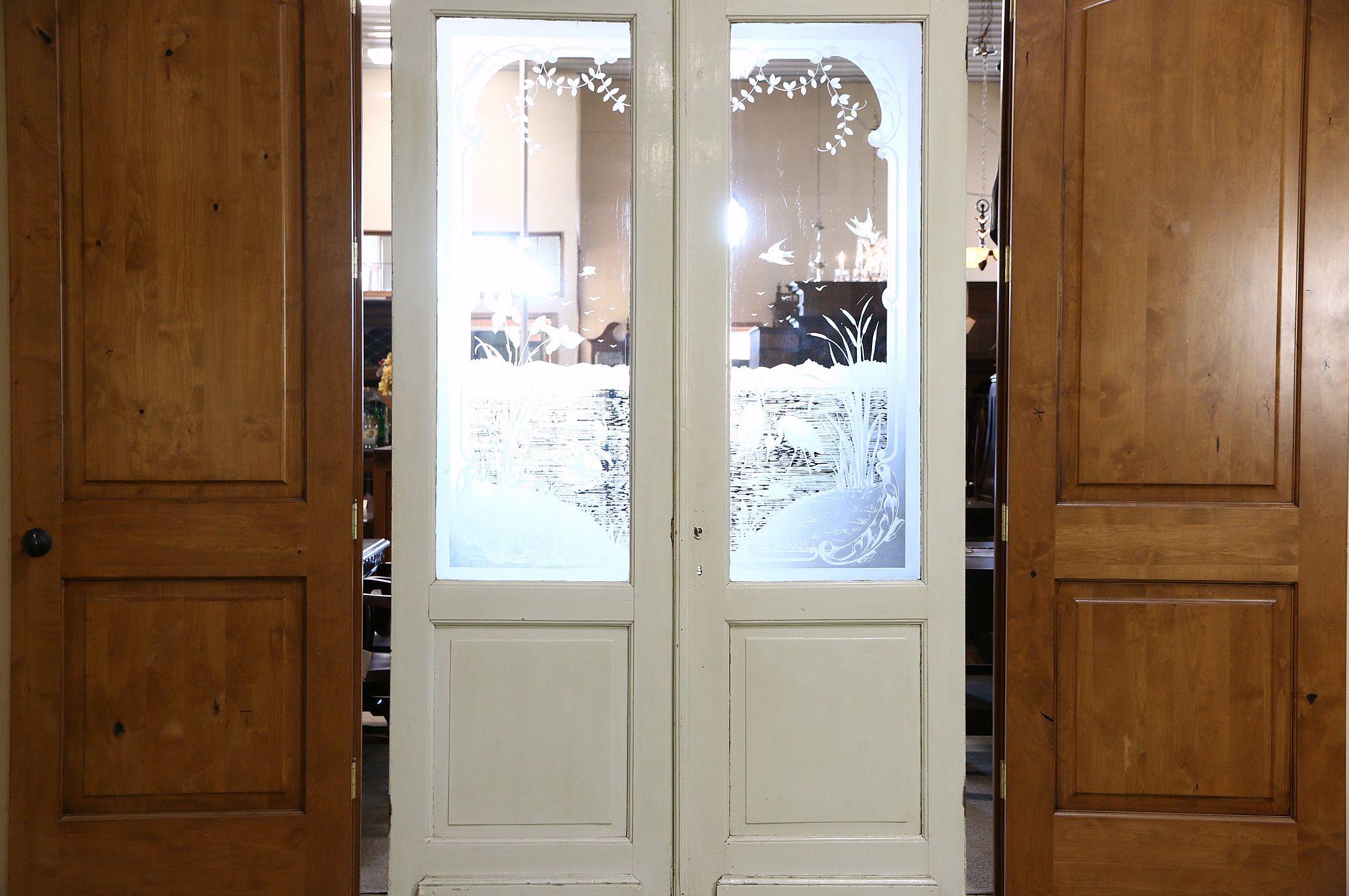 Pair 1890u0027s Antique Salvage Doors Etched Swan u0026 Crane Scene Windows & SOLD - Pair 1890u0027s Antique Salvage Doors Etched Swan u0026 Crane Scene ...