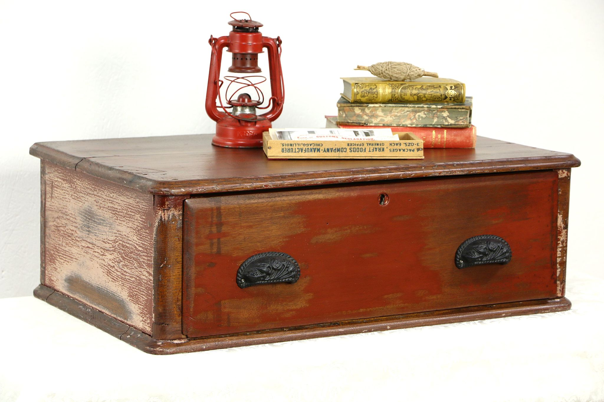 Country Pine U0026 Oak Antique Tabletop Worn Paint Rustic Chest With Drawer ...