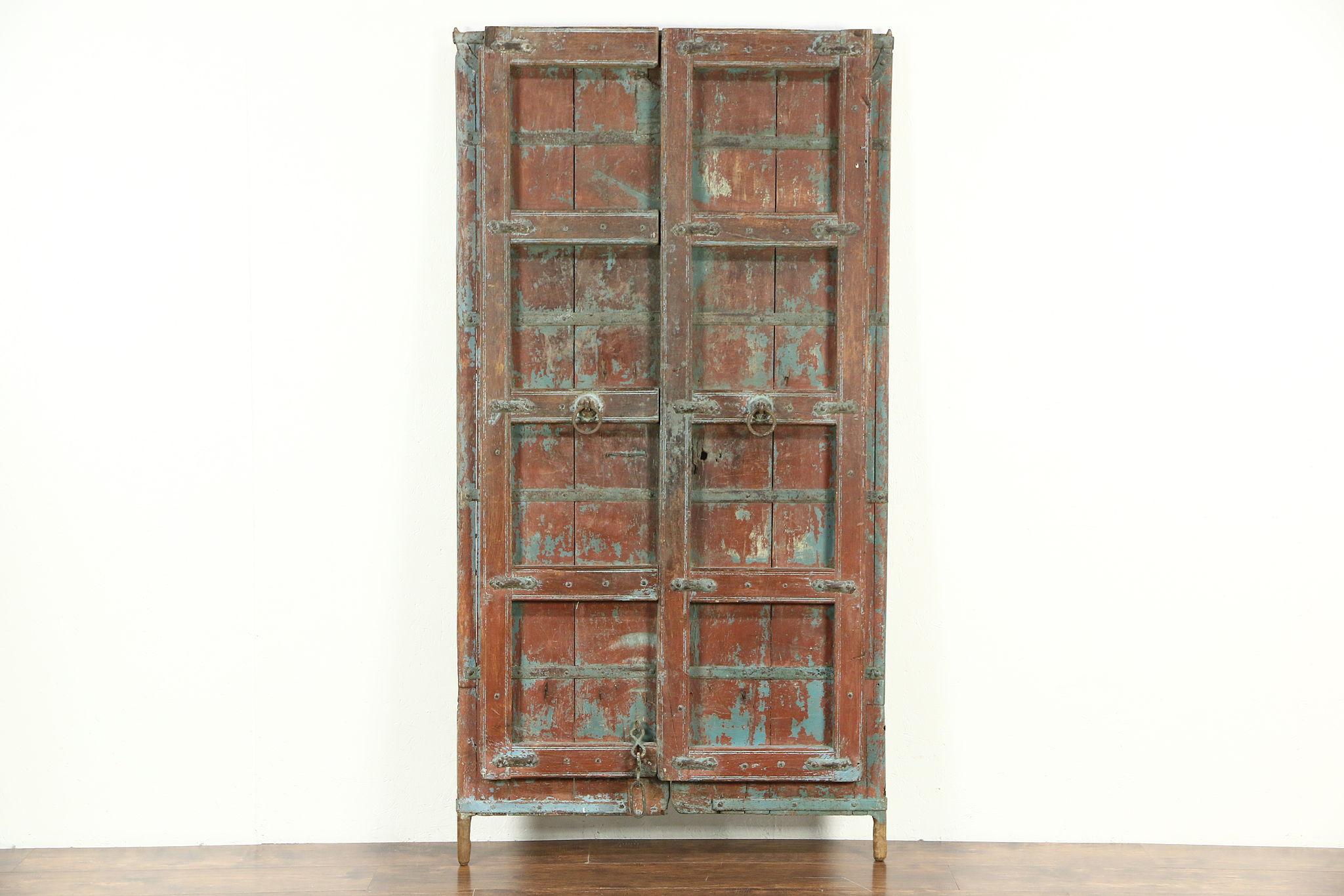 Dutch east indies java antique 1900 architectural salvage pair of teak doors photo