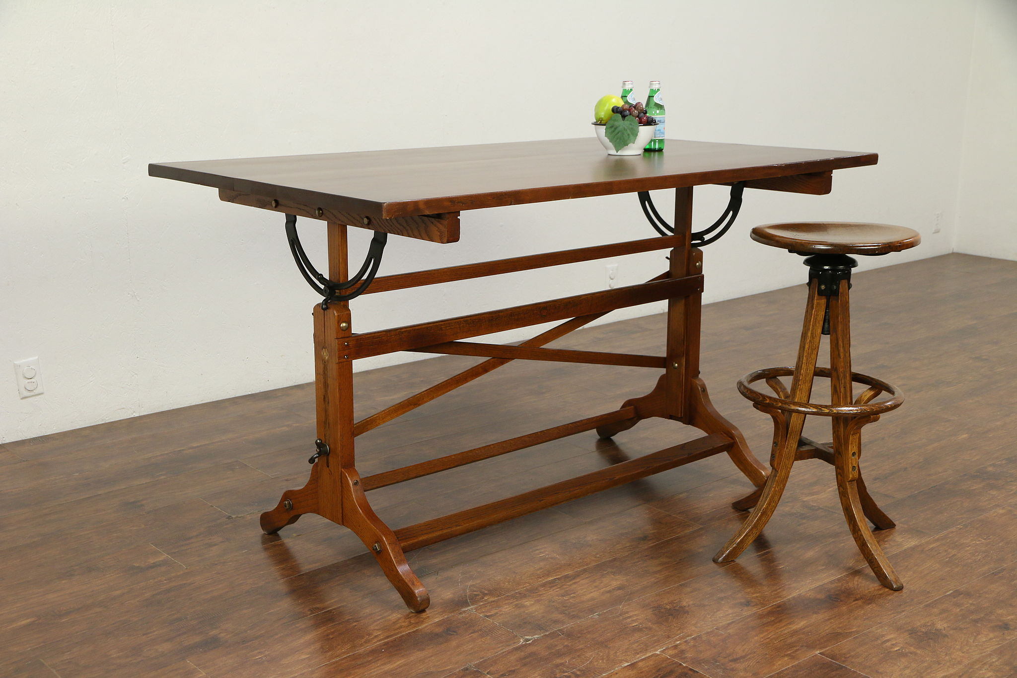 Sold Drafting Or Artist Desk Drawing Or Wine Table Island Signed Post 30112 Harp Gallery Antiques Furniture