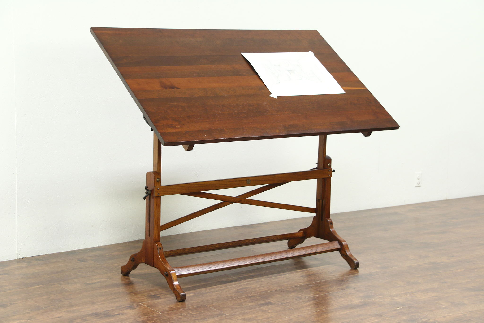Sold Architect Drawing Table Or Artist Desk Oak Pine Antique Wine Table Post Harp Gallery Antiques Furniture