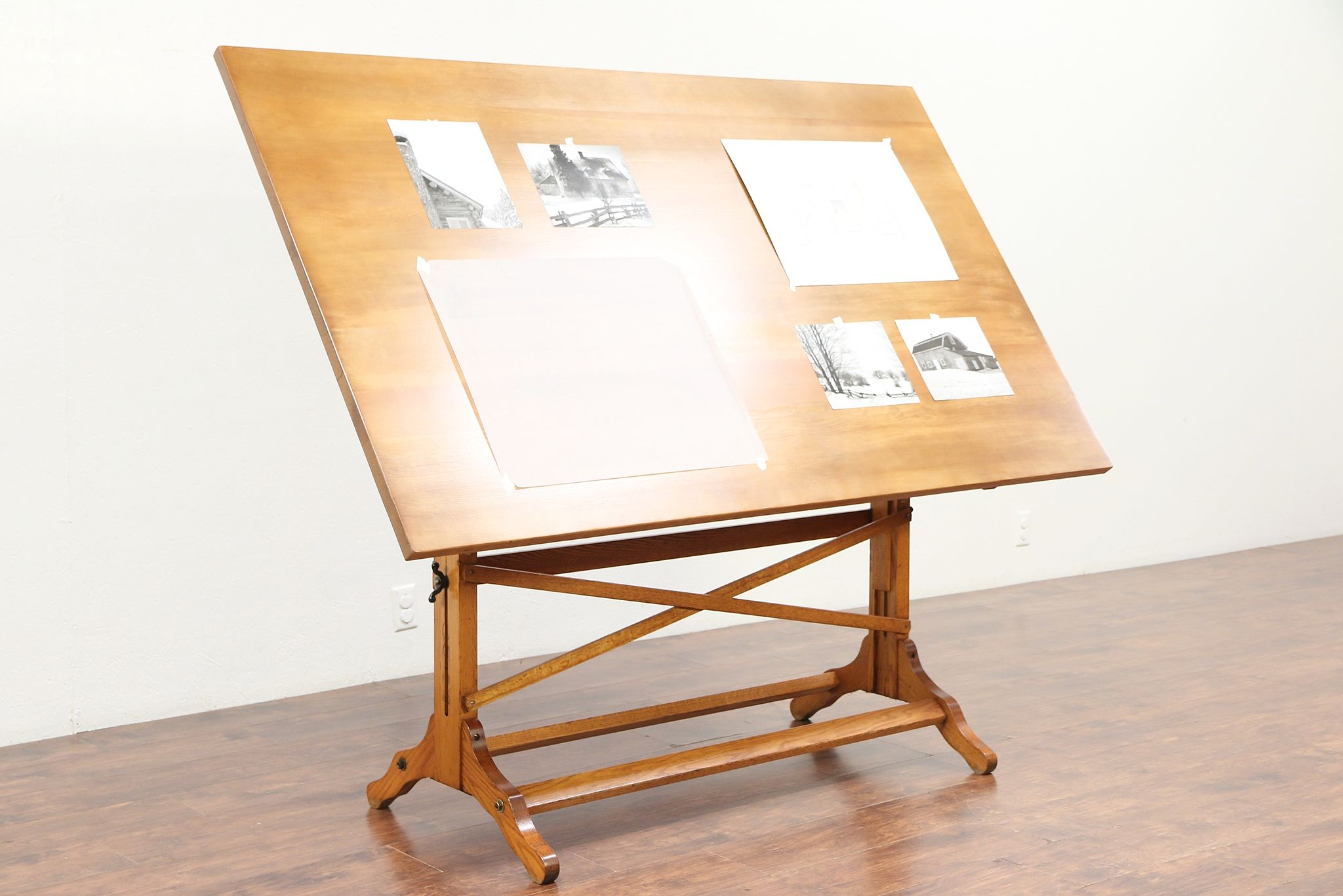 Sold Drafting Artist Desk Vintage Oak Pine Drawing Or Wine Cheese Table 29375 Harp Gallery Antiques Furniture