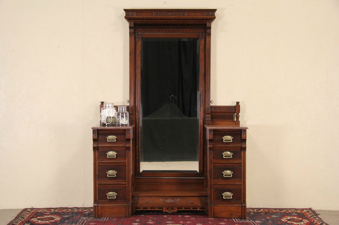Antique dressing table with mirror - Victorian Eastlake Marble Top 1880 Antique Dressing Table Mirror