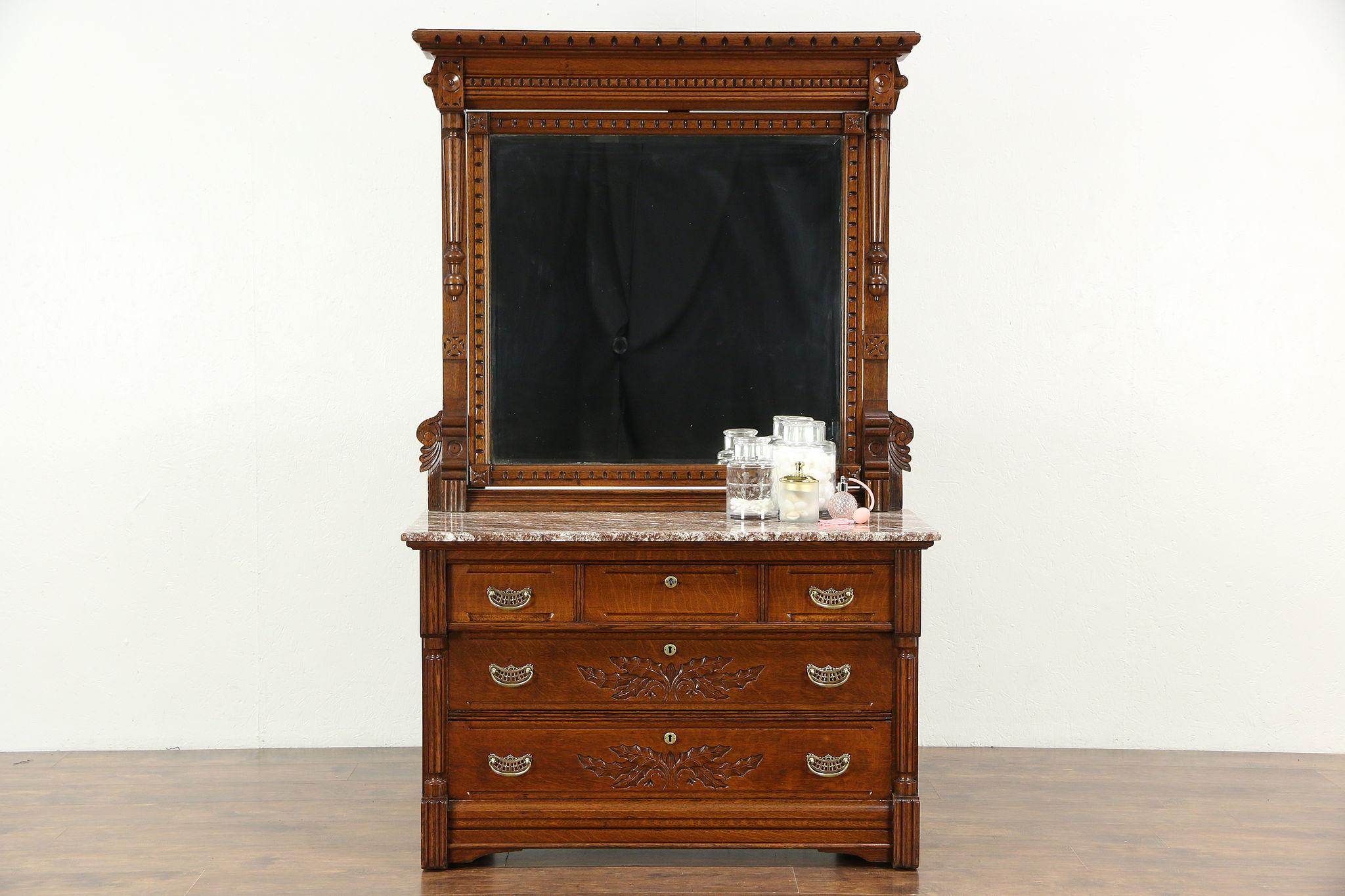 Victorian 1890 Antique Oak Marble Top Chest Or Dresser Beveled Mirror