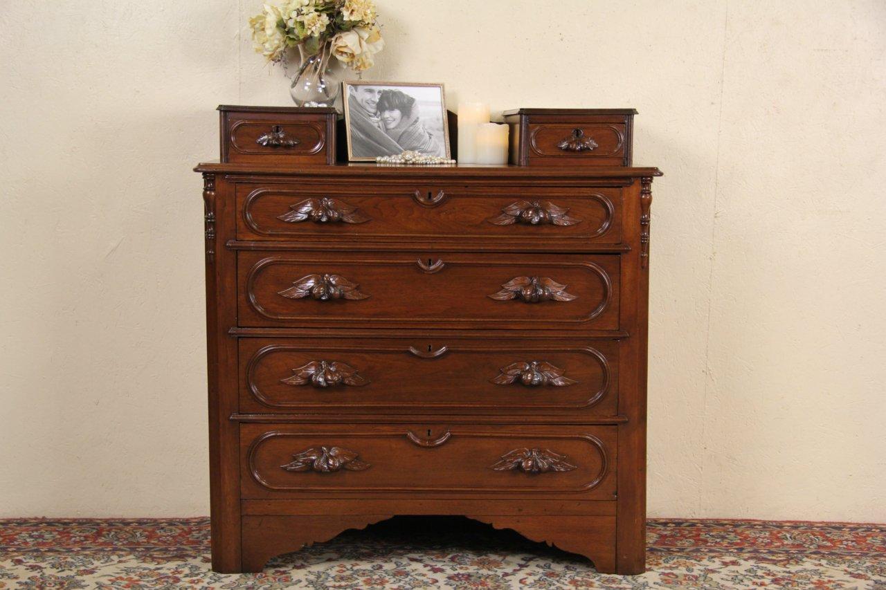 Victorian 1860 Antique Walnut Dresser or Chest, Carved Fruit Pulls - SOLD - Victorian 1860 Antique Walnut Dresser Or Chest, Carved Fruit